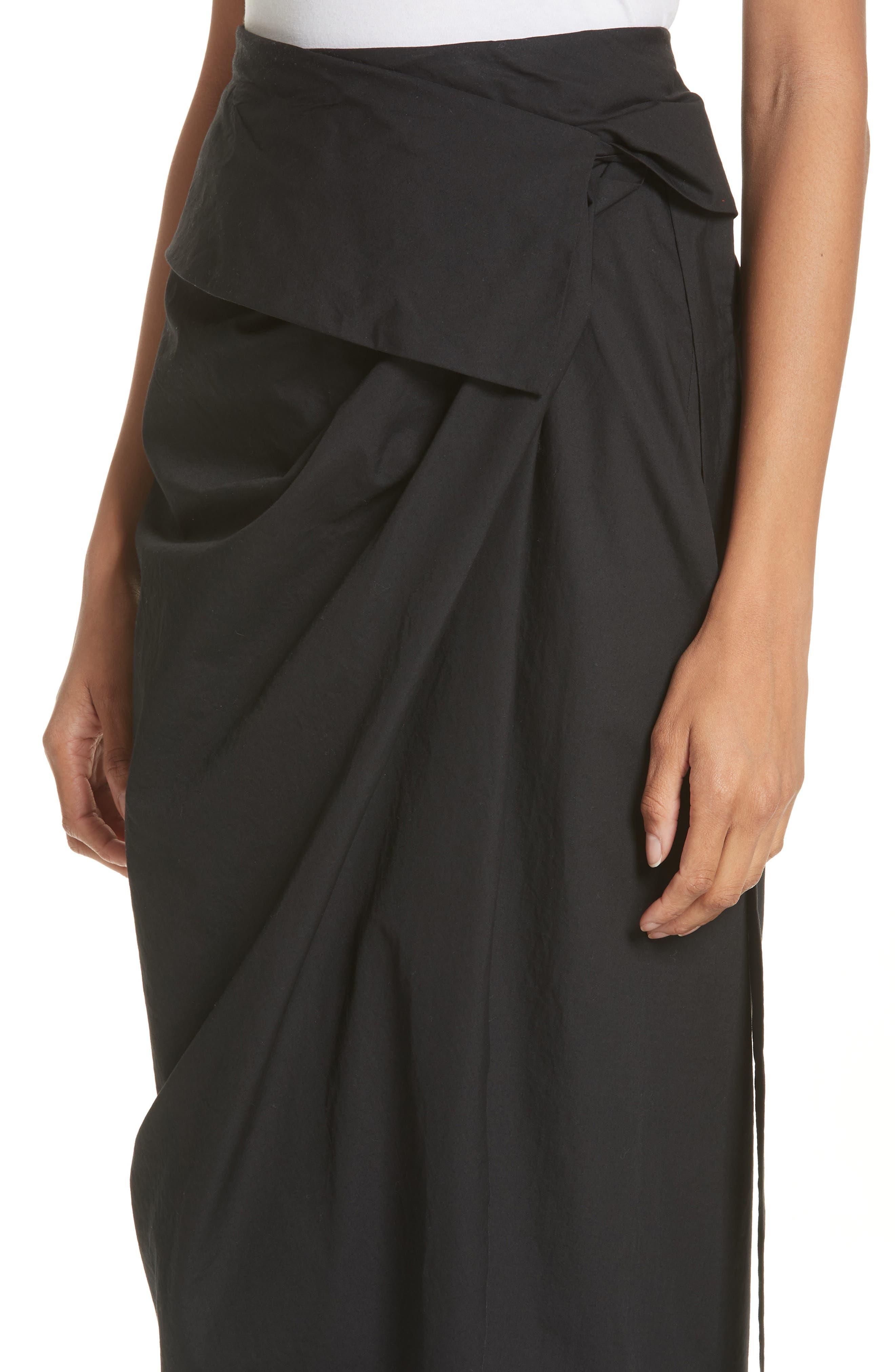 High Waist Wrap Skirt,                             Alternate thumbnail 4, color,                             Black