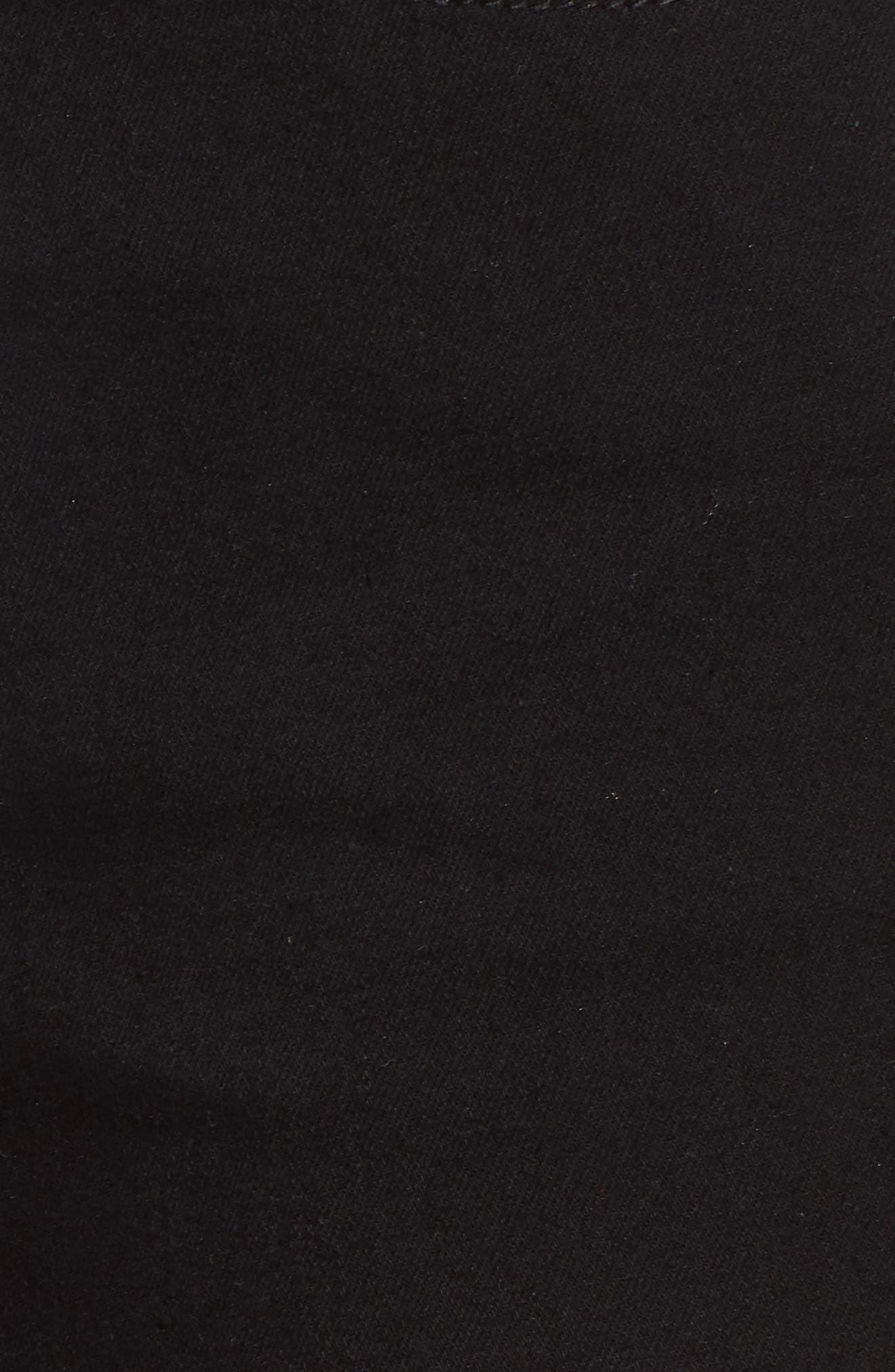 Studded Step Hem Denim Cutoff Shorts,                             Alternate thumbnail 6, color,                             Black