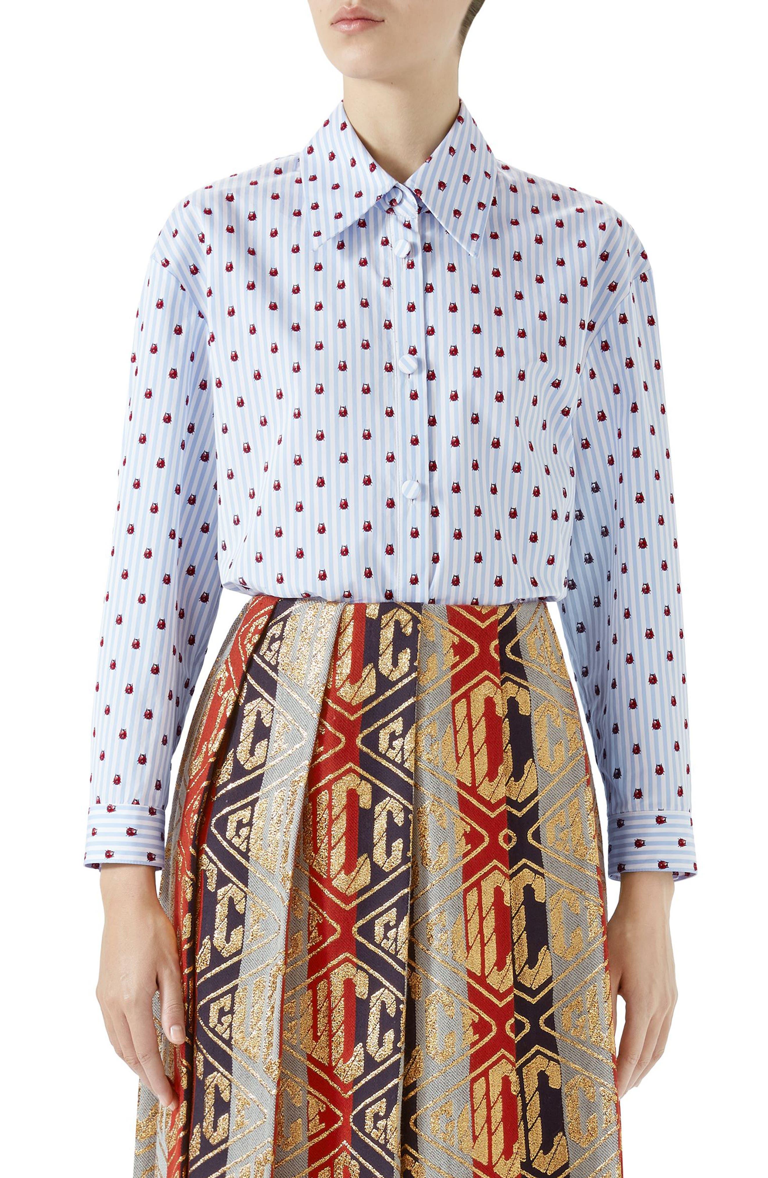 Ladybug Print Poplin Shirt,                         Main,                         color, Red Print