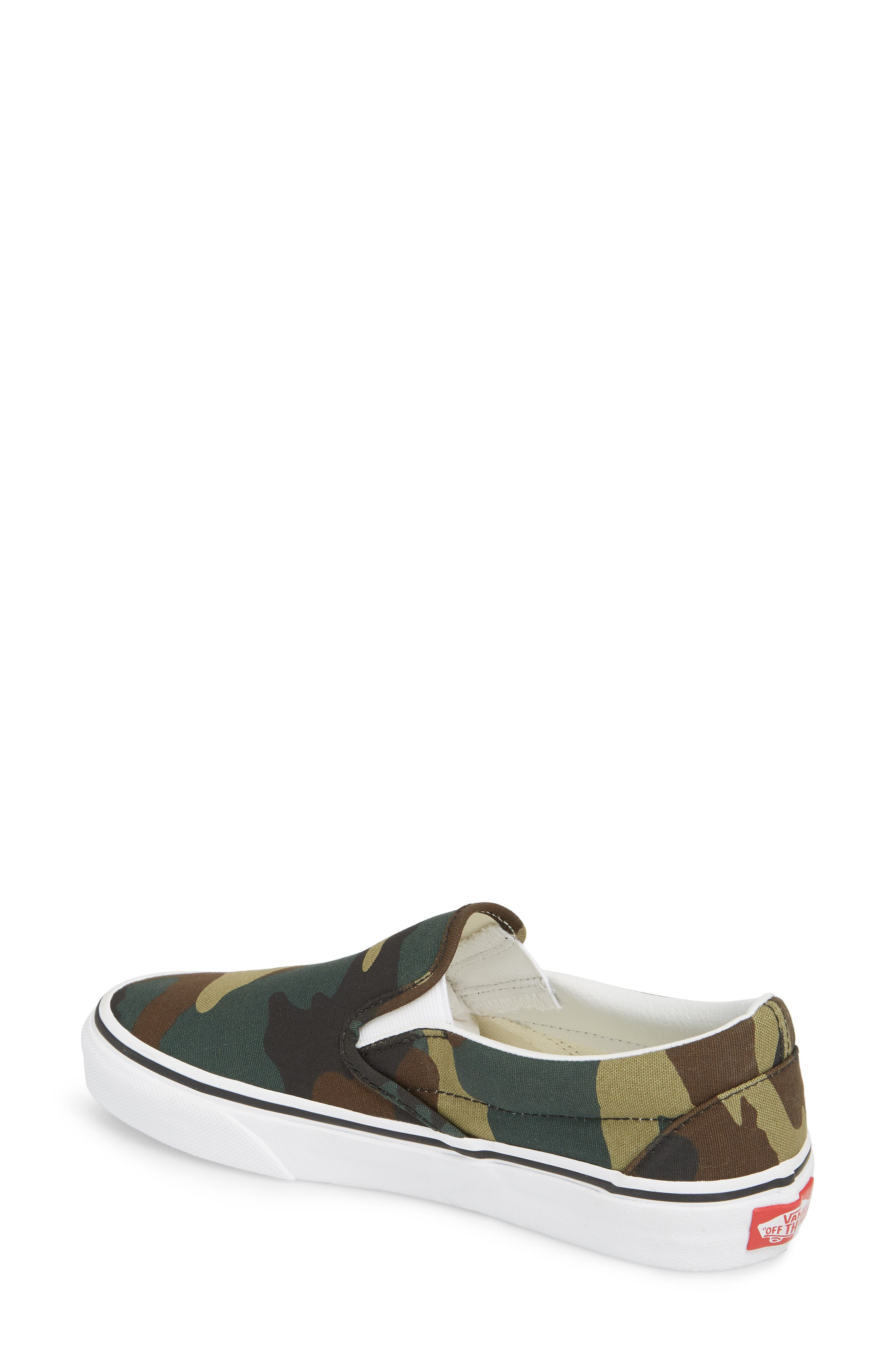 Classic Slip-On Sneaker,                             Alternate thumbnail 2, color,                             Black / Woodland