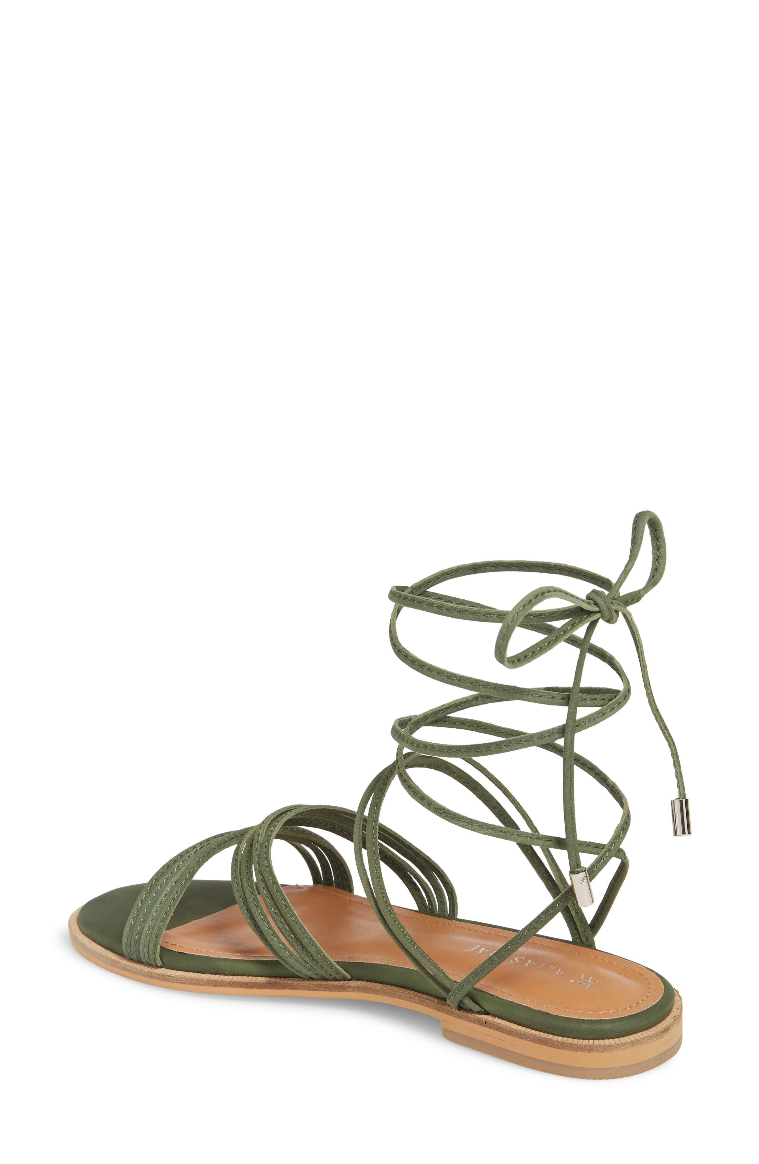 Theory Strappy Flat Sandal,                             Alternate thumbnail 2, color,                             Khaki Leather