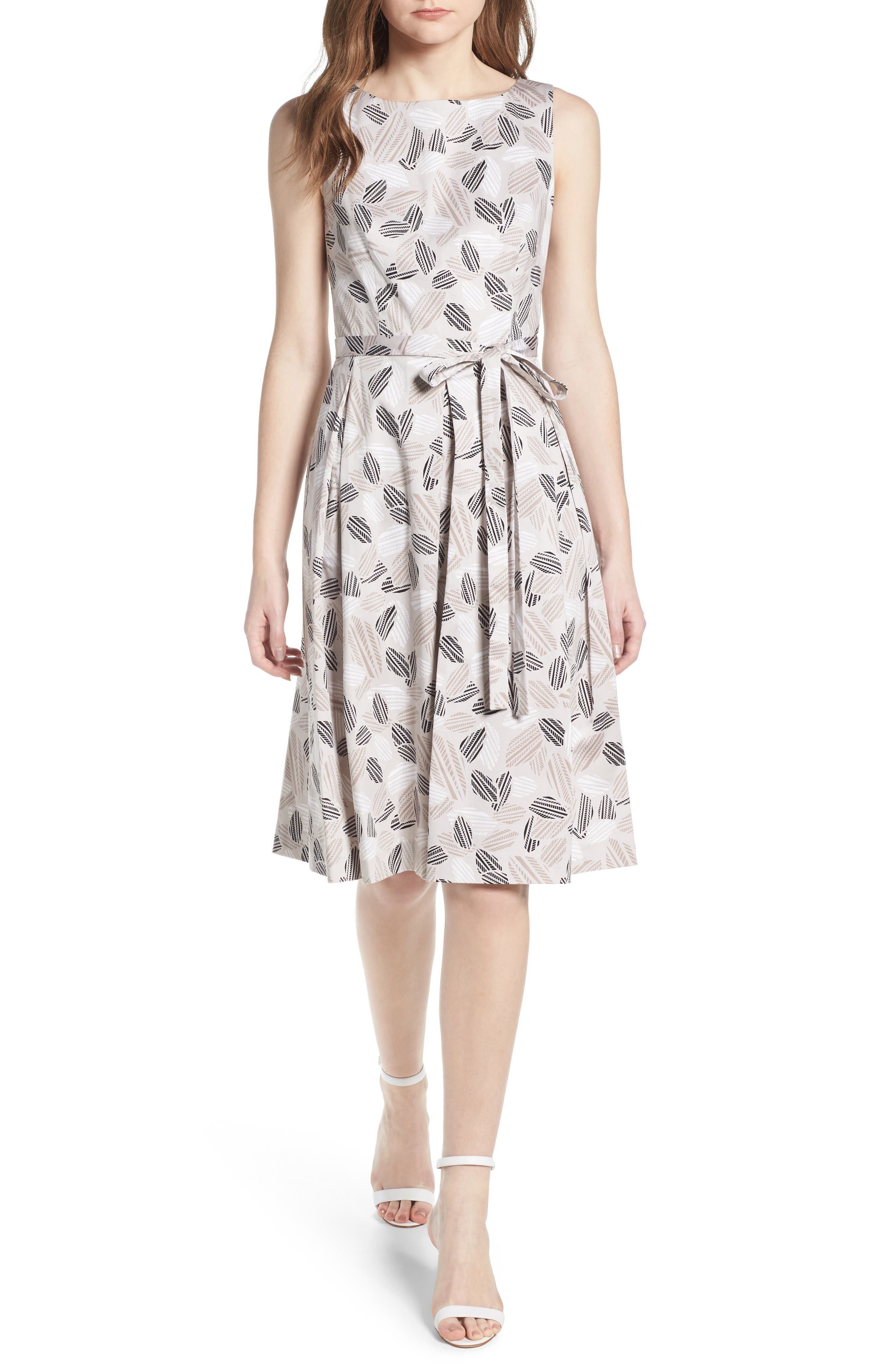 Leaf Print Fit And Flare Dress,                         Main,                         color, Parchment/ Oyster Shell Combo