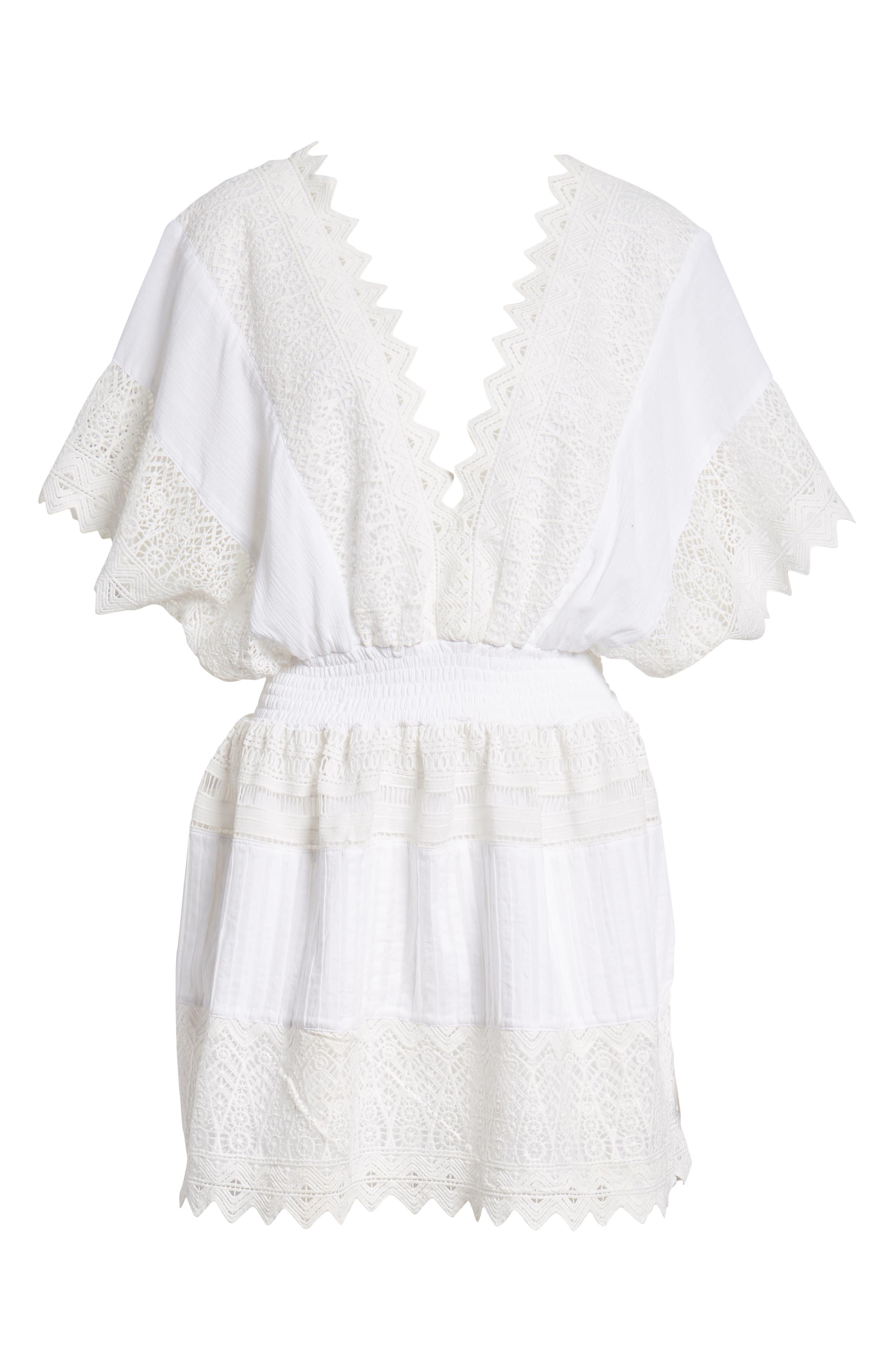 Rosa Lace Minidress,                             Alternate thumbnail 6, color,                             White