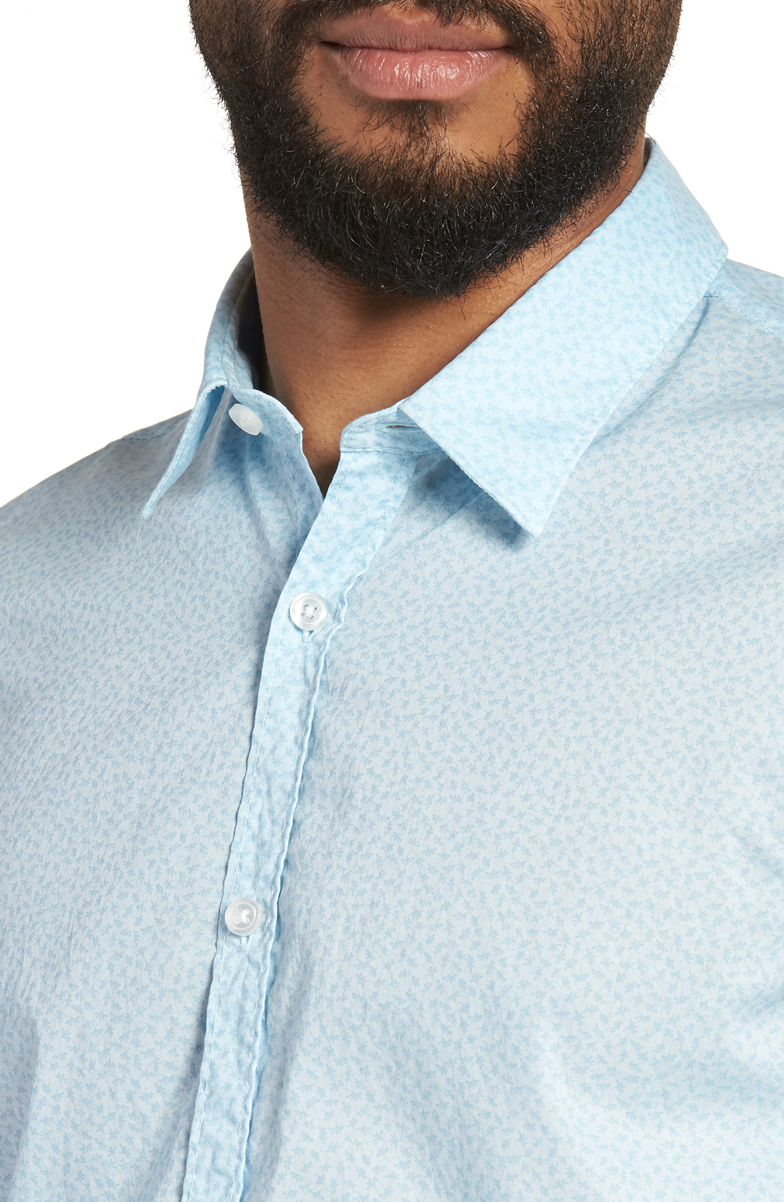 Ronn Slim Fit Flower Print Sport Shirt,                             Alternate thumbnail 2, color,                             Blue