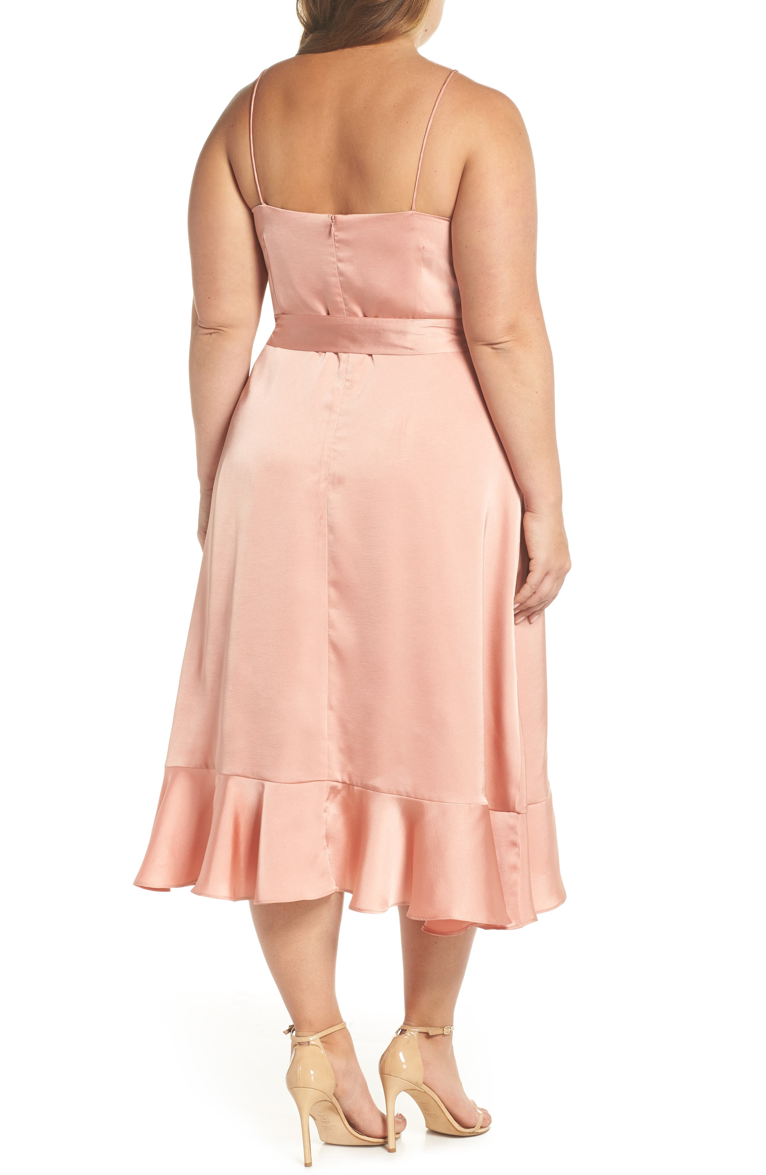 Marilyn Satin Faux Wrap Dress,                             Alternate thumbnail 4, color,                             Coral Haze