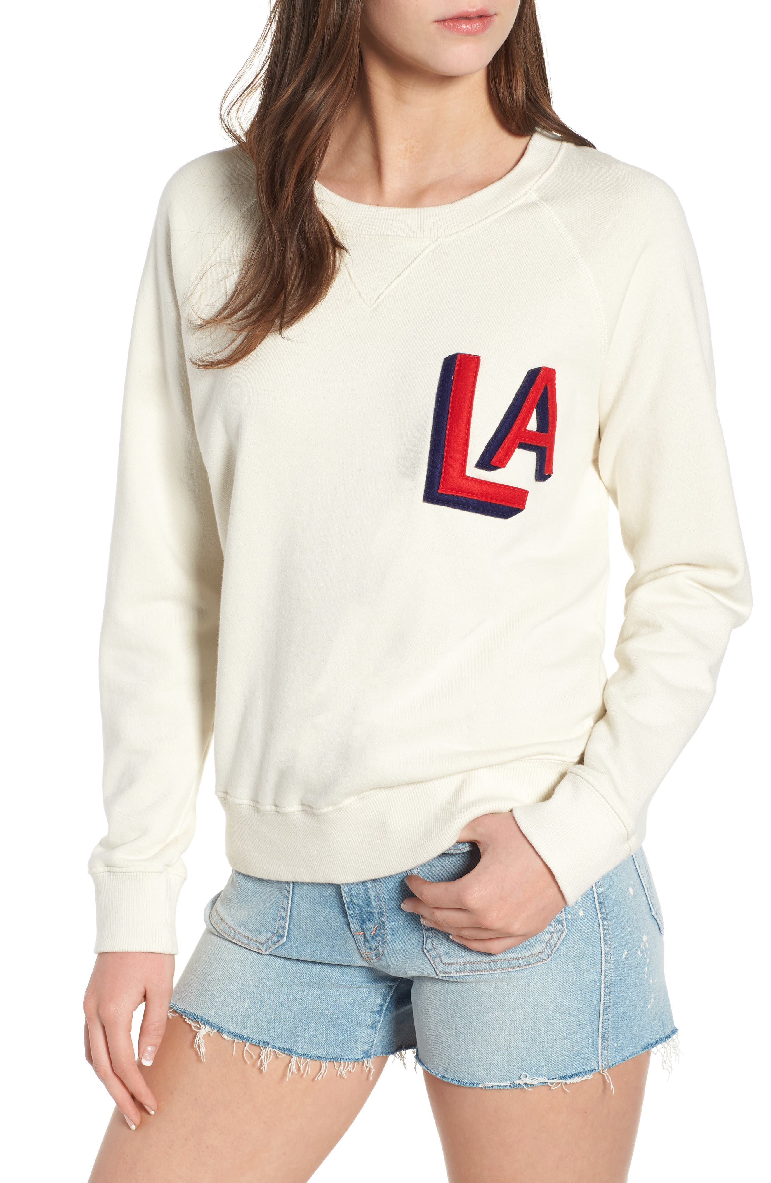 'The Square' Destroyed Graphic Pullover Sweatshirt,                             Main thumbnail 1, color,                             Out Of Your League