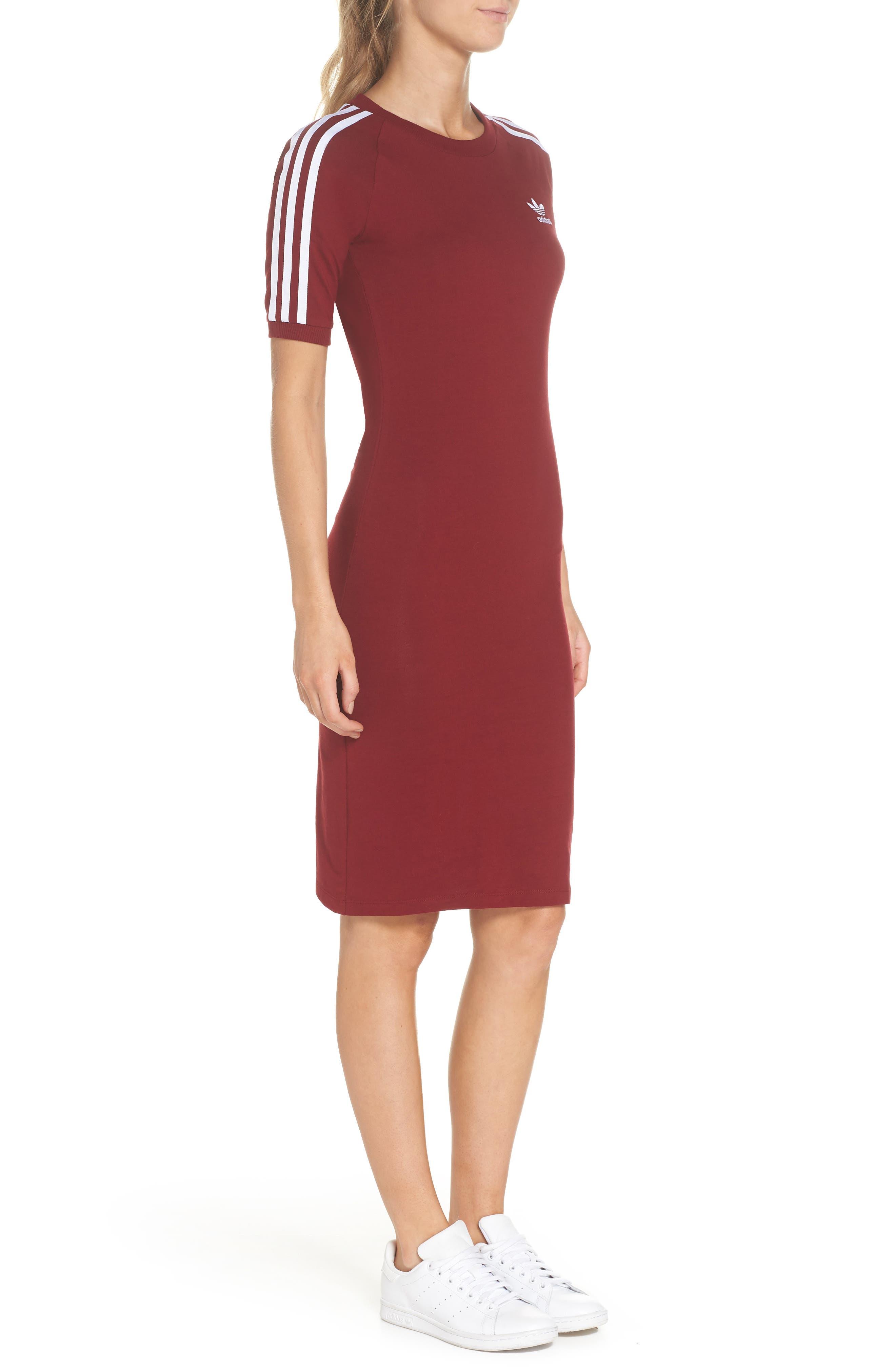 Originals 3-Stripes Dress,                             Alternate thumbnail 3, color,                             Collegiate Burgundy