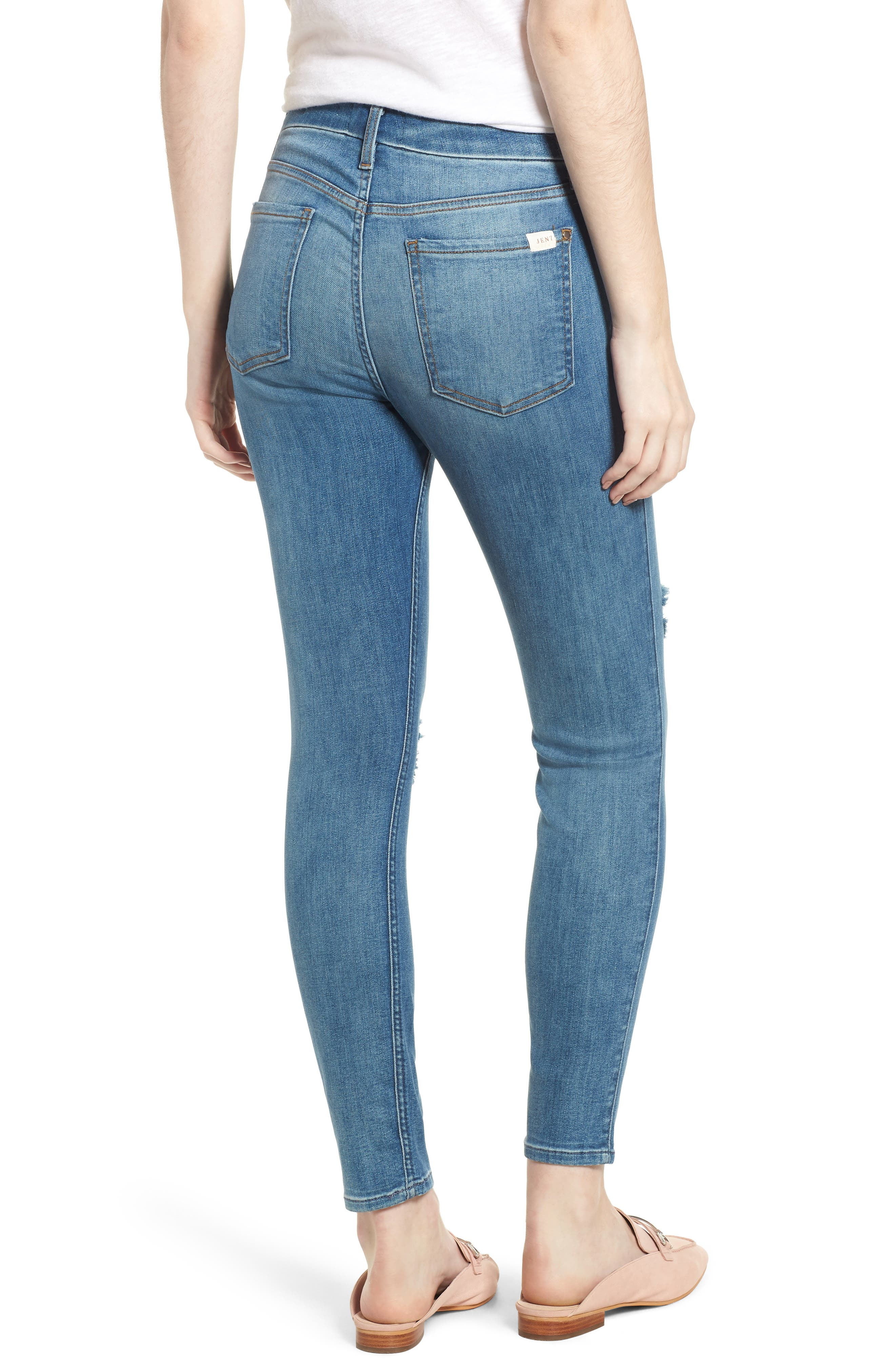 Ripped Ankle Skinny Jeans,                             Alternate thumbnail 2, color,                             Symphony Blue