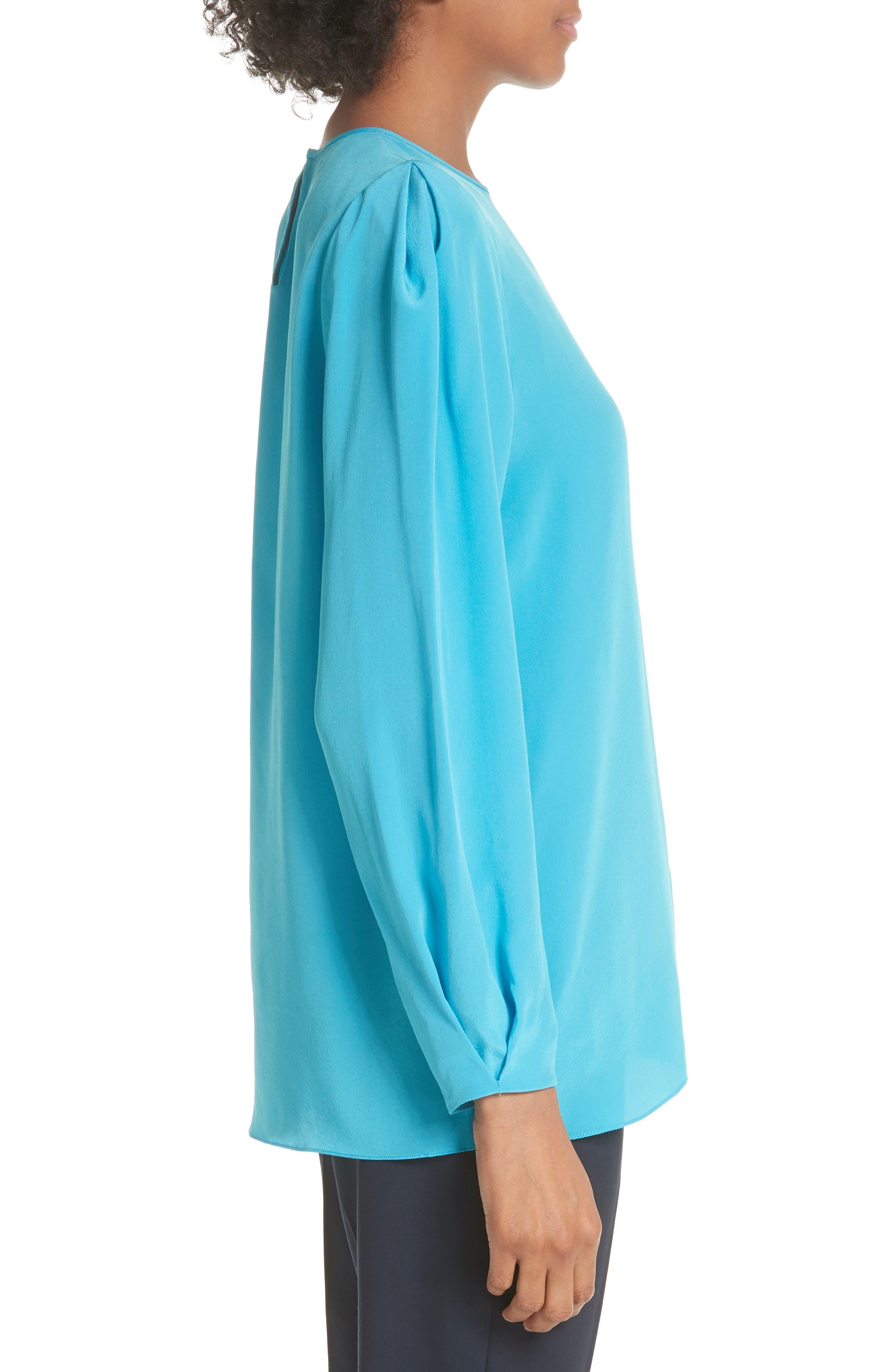 Cinched Sleeve Silk Blouse,                             Alternate thumbnail 3, color,                             Horizon