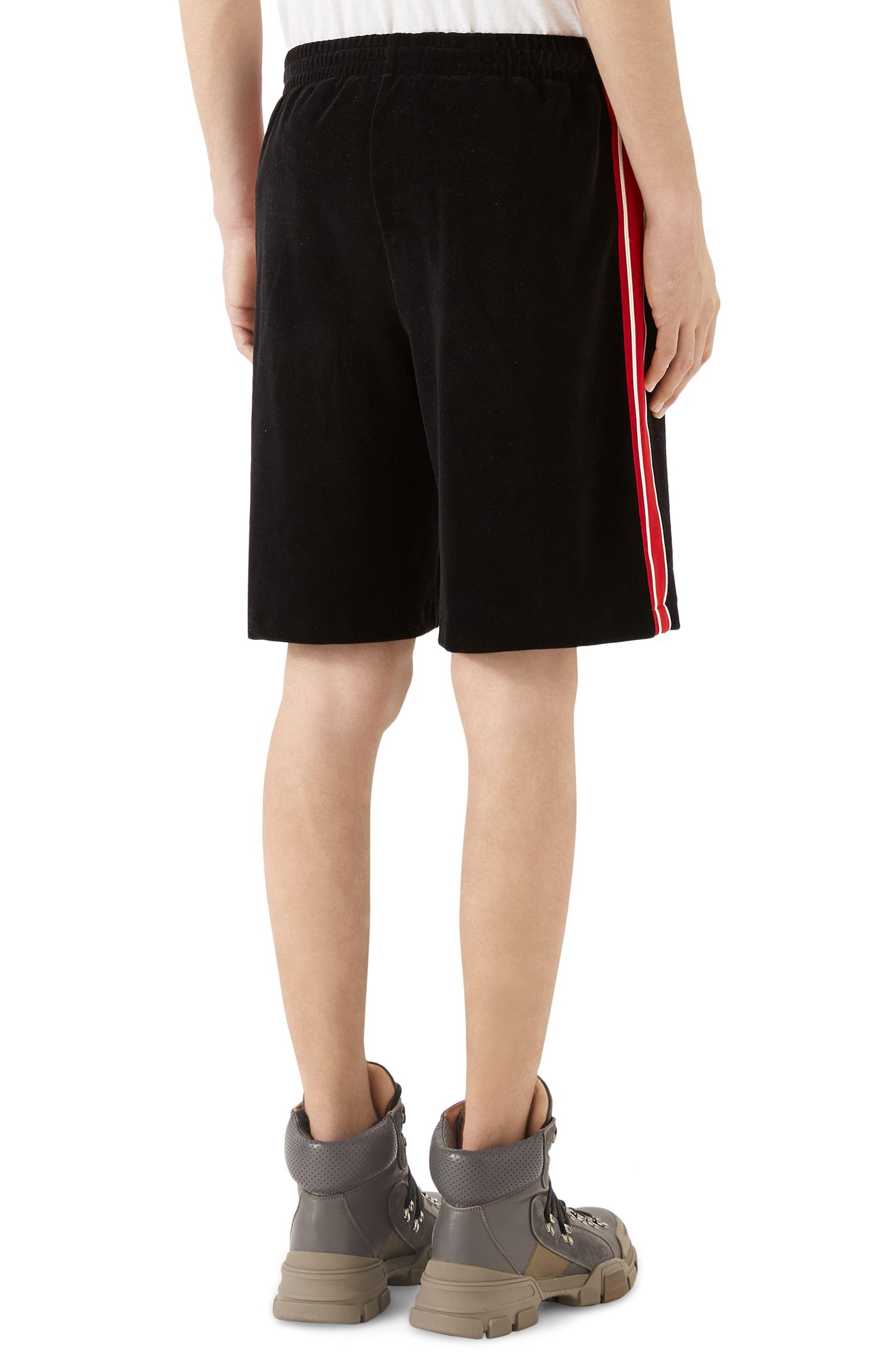 Chenille Jersey Shorts,                             Alternate thumbnail 2, color,                             Black