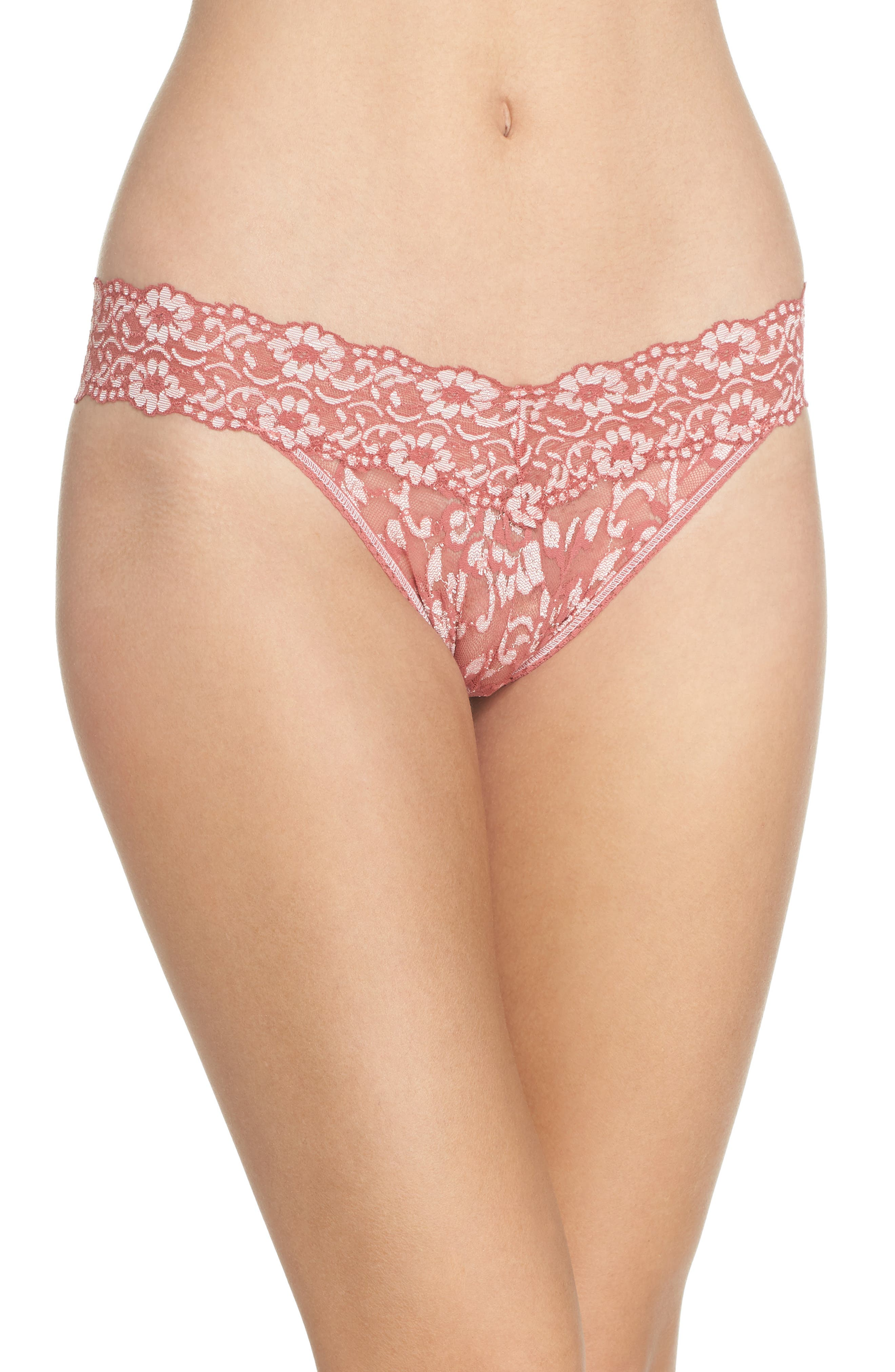 Cross Dyed Regular Rise Thong,                         Main,                         color, Pink Sands/ Marshmallow