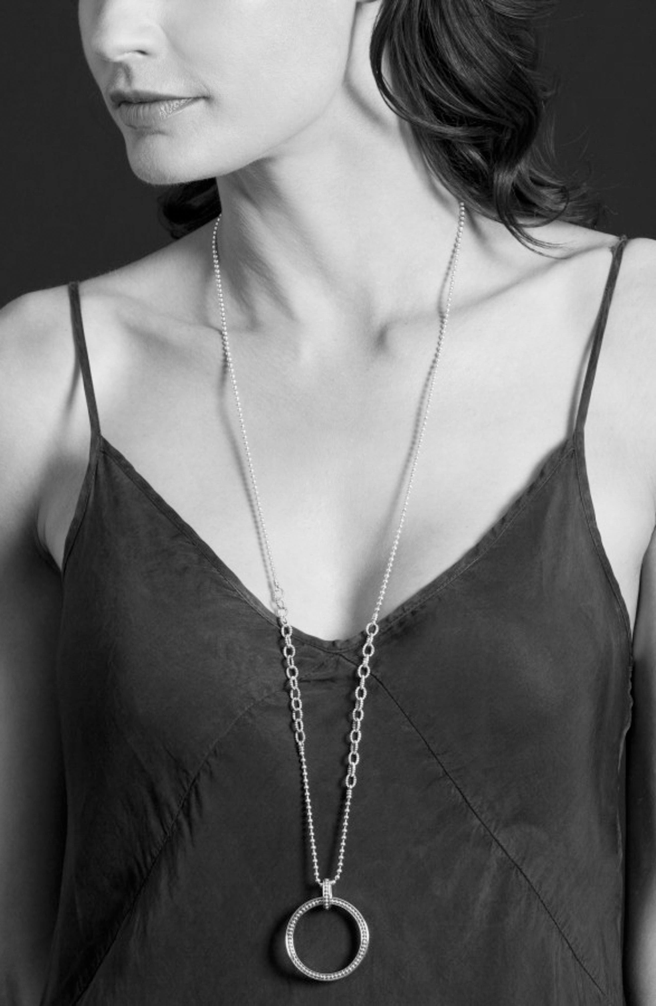 Enso Long Pendant Necklace,                             Alternate thumbnail 3, color,                             Silver/ Gold