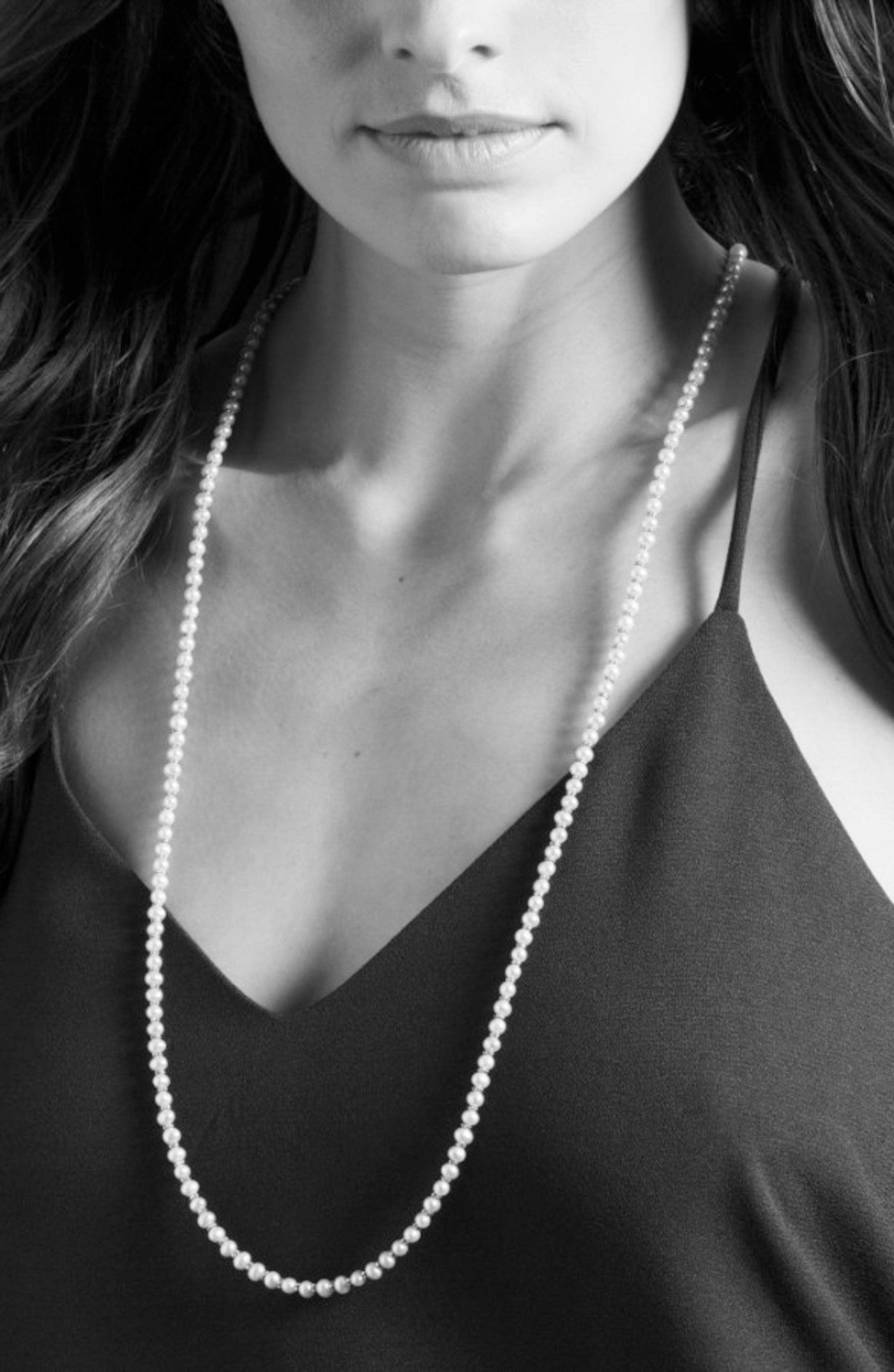 'Luna' Long Micro Bead & Pearl Necklace,                             Alternate thumbnail 3, color,                             Silver/ Pearl