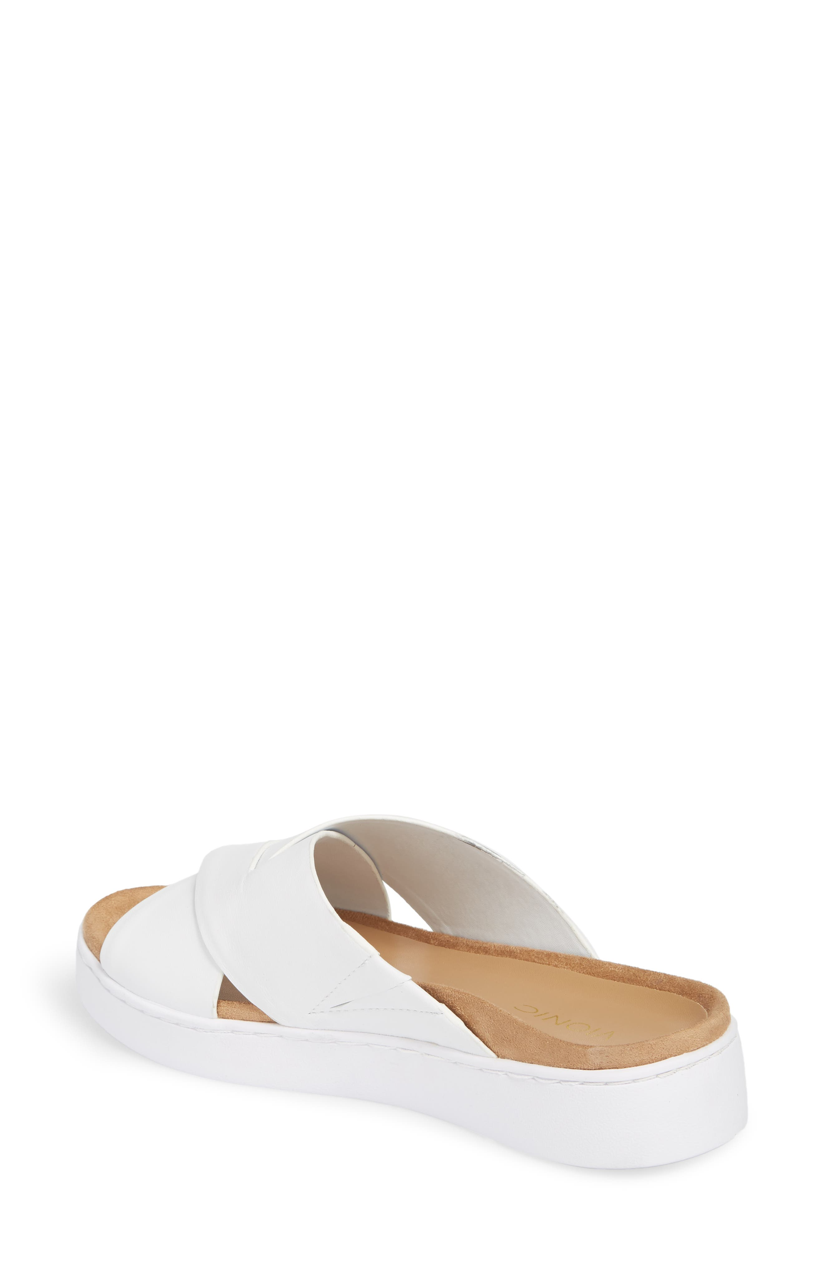 Lou Slide Sandal,                             Alternate thumbnail 2, color,                             White Leather