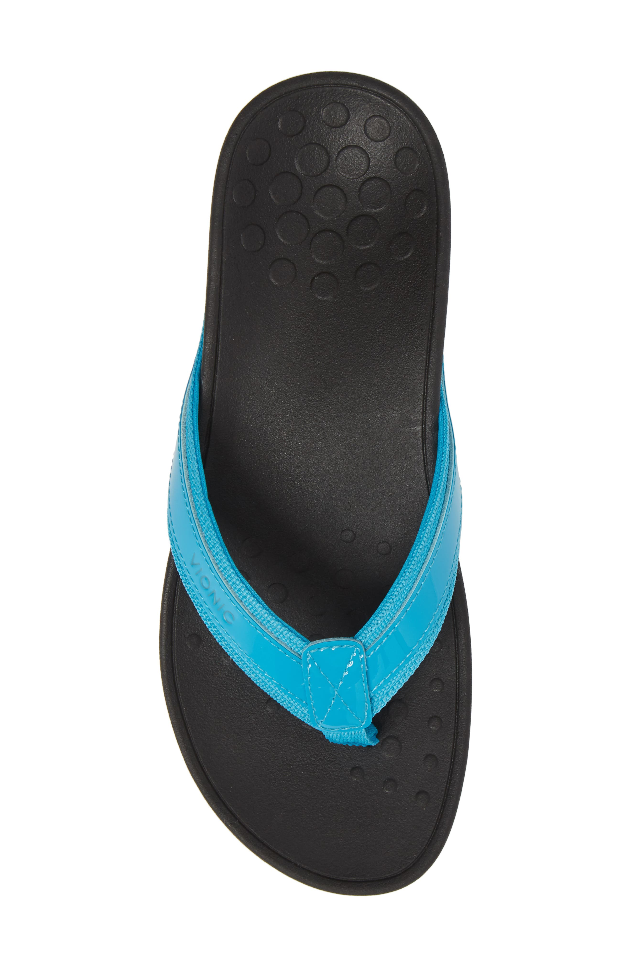 High Tide Wedge Flip Flop,                             Alternate thumbnail 5, color,                             Turquoise Leather