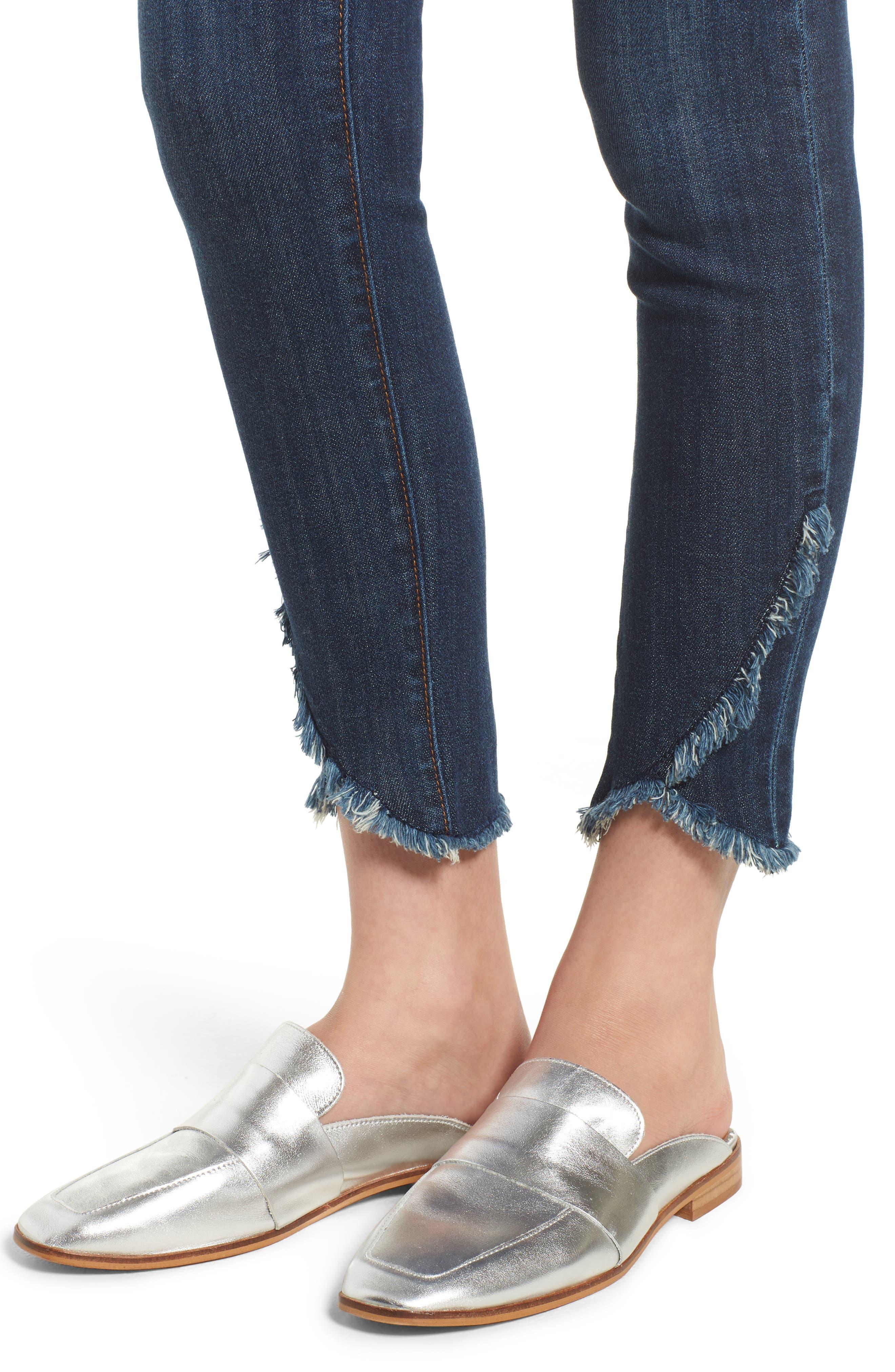 Asymmetrical Fray Hem Skinny Jeans,                             Alternate thumbnail 4, color,                             Dark Wash