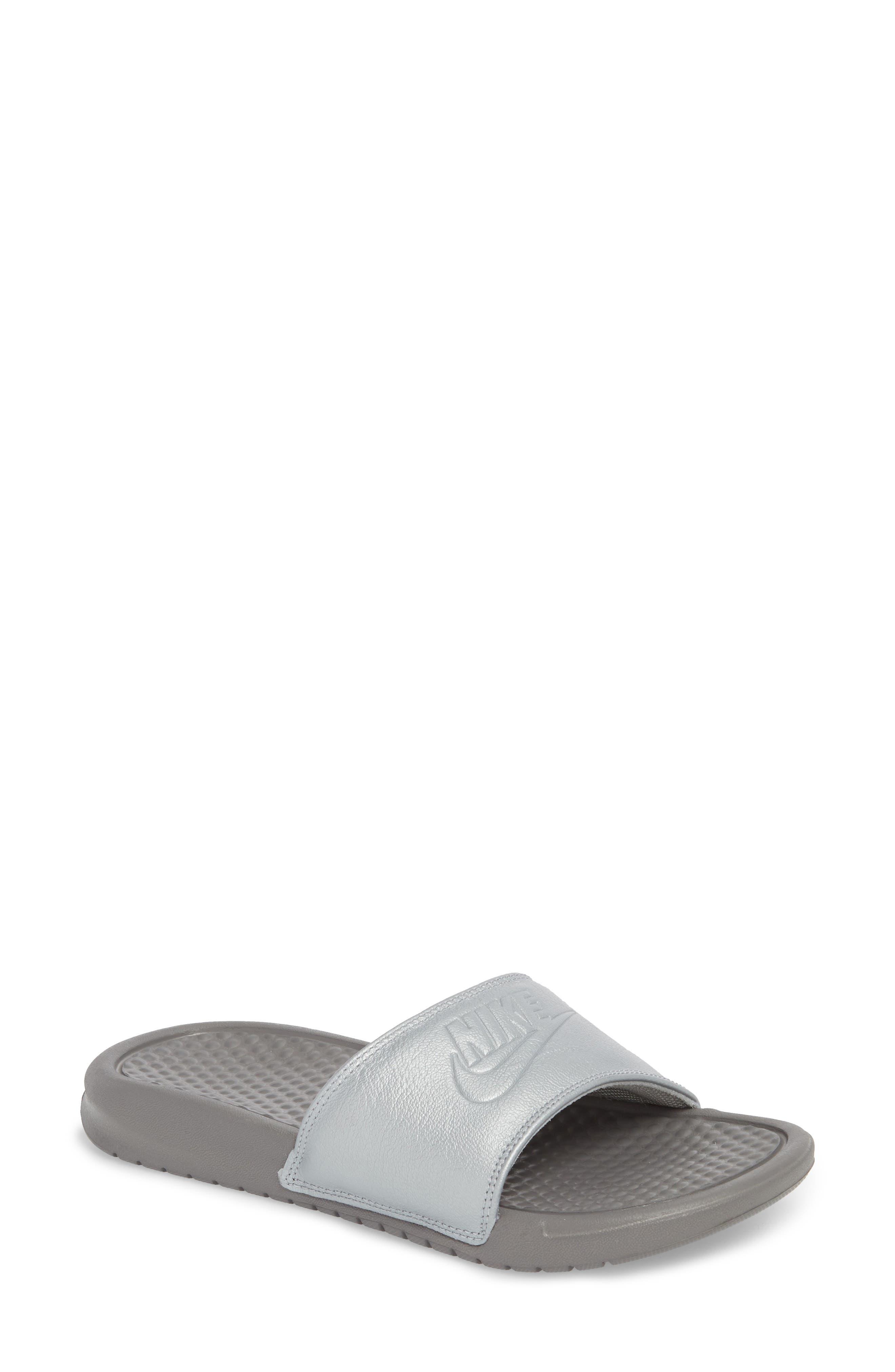 Benassi JDI Sport Slide,                         Main,                         color, Metallic Silver