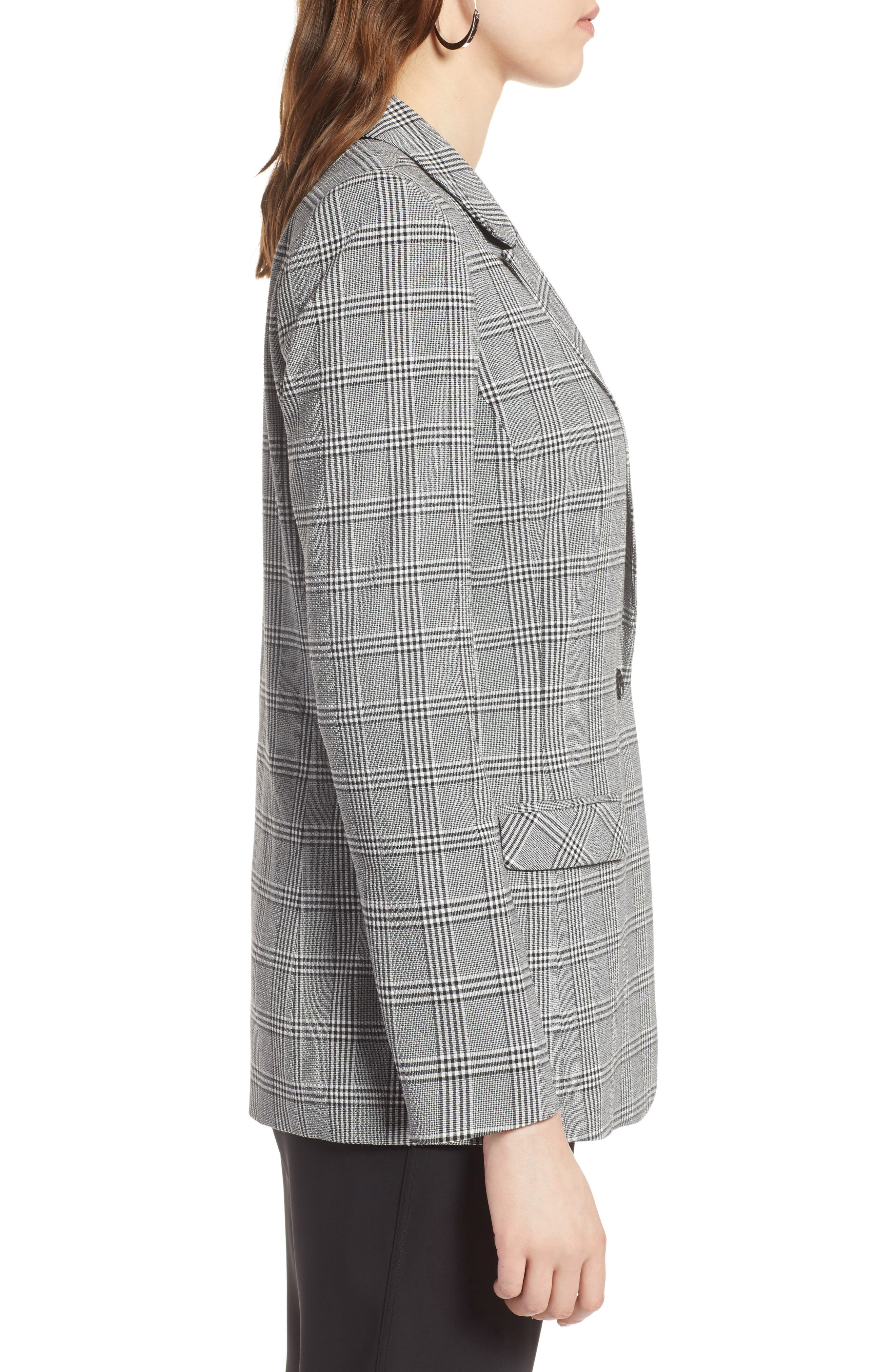 Glen Plaid Blazer,                             Alternate thumbnail 3, color,                             Black- White Glen Check