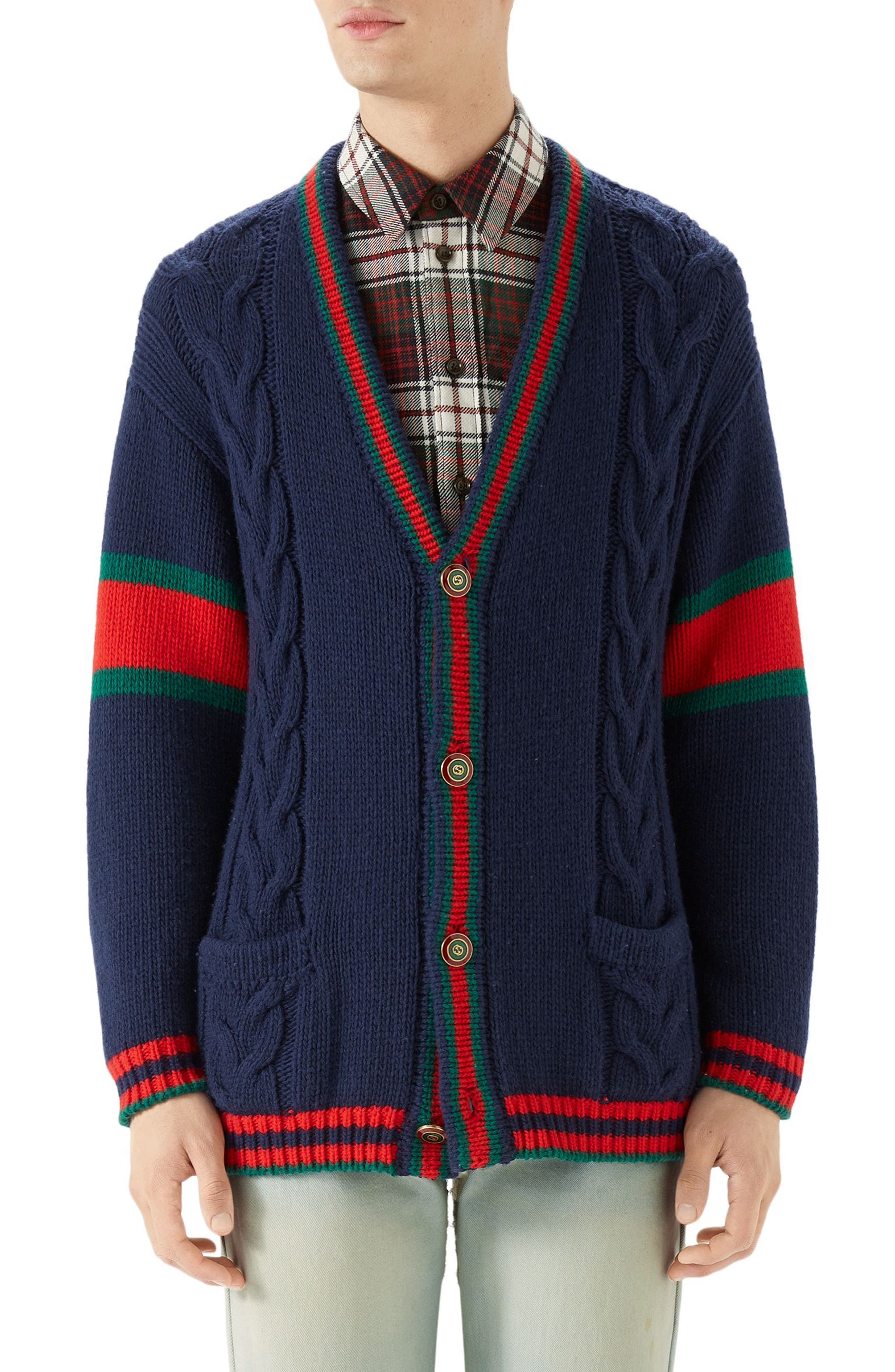 Web Cable Knit Wool Cardigan,                         Main,                         color, Blue