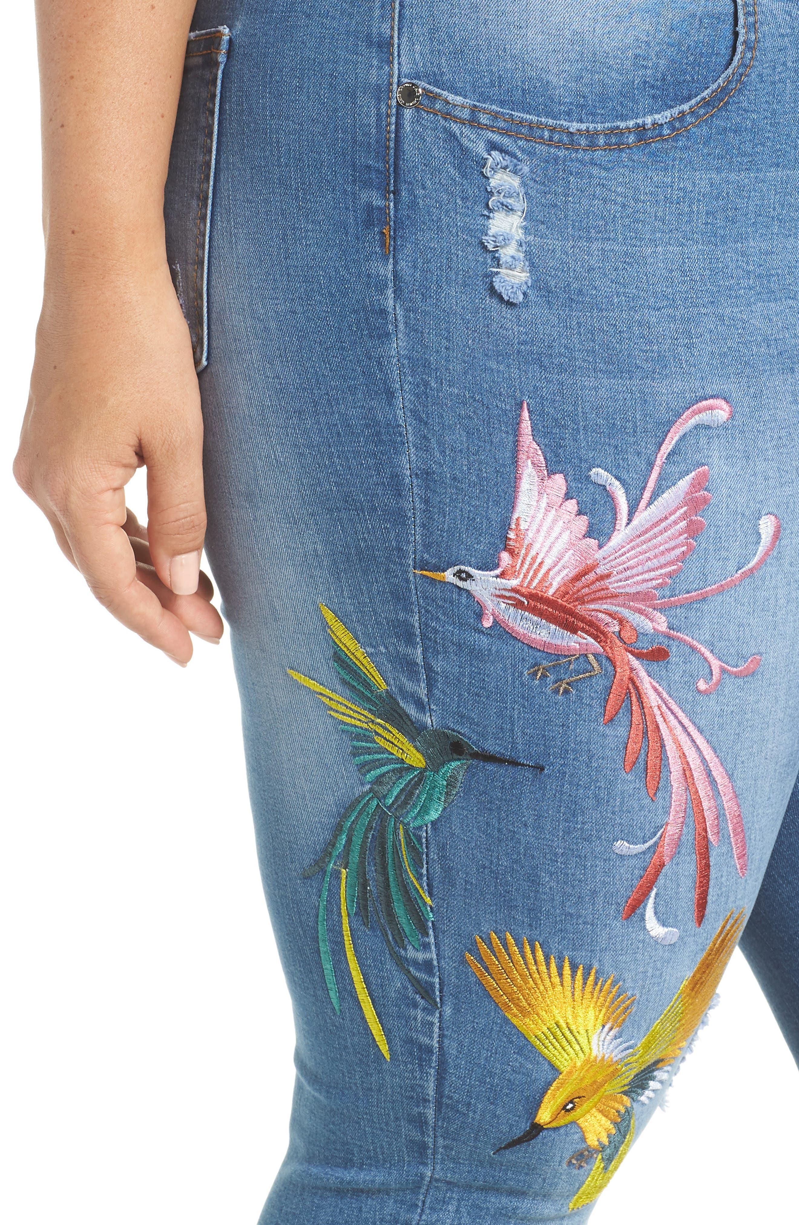 Summer Paradise Embroidered Stretch Skinny Jeans,                             Alternate thumbnail 4, color,                             Light Denim