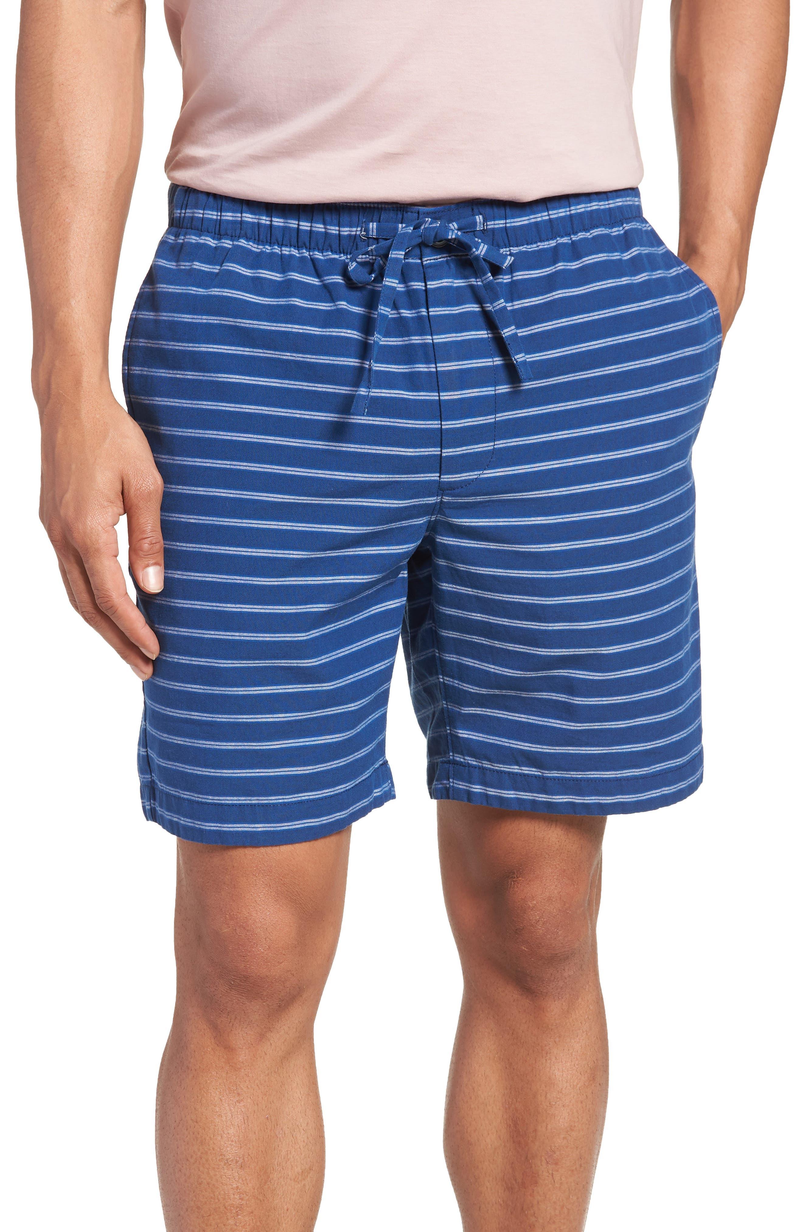 Slim Fit Stripe Beach Shorts,                             Main thumbnail 1, color,                             Blue Stripe