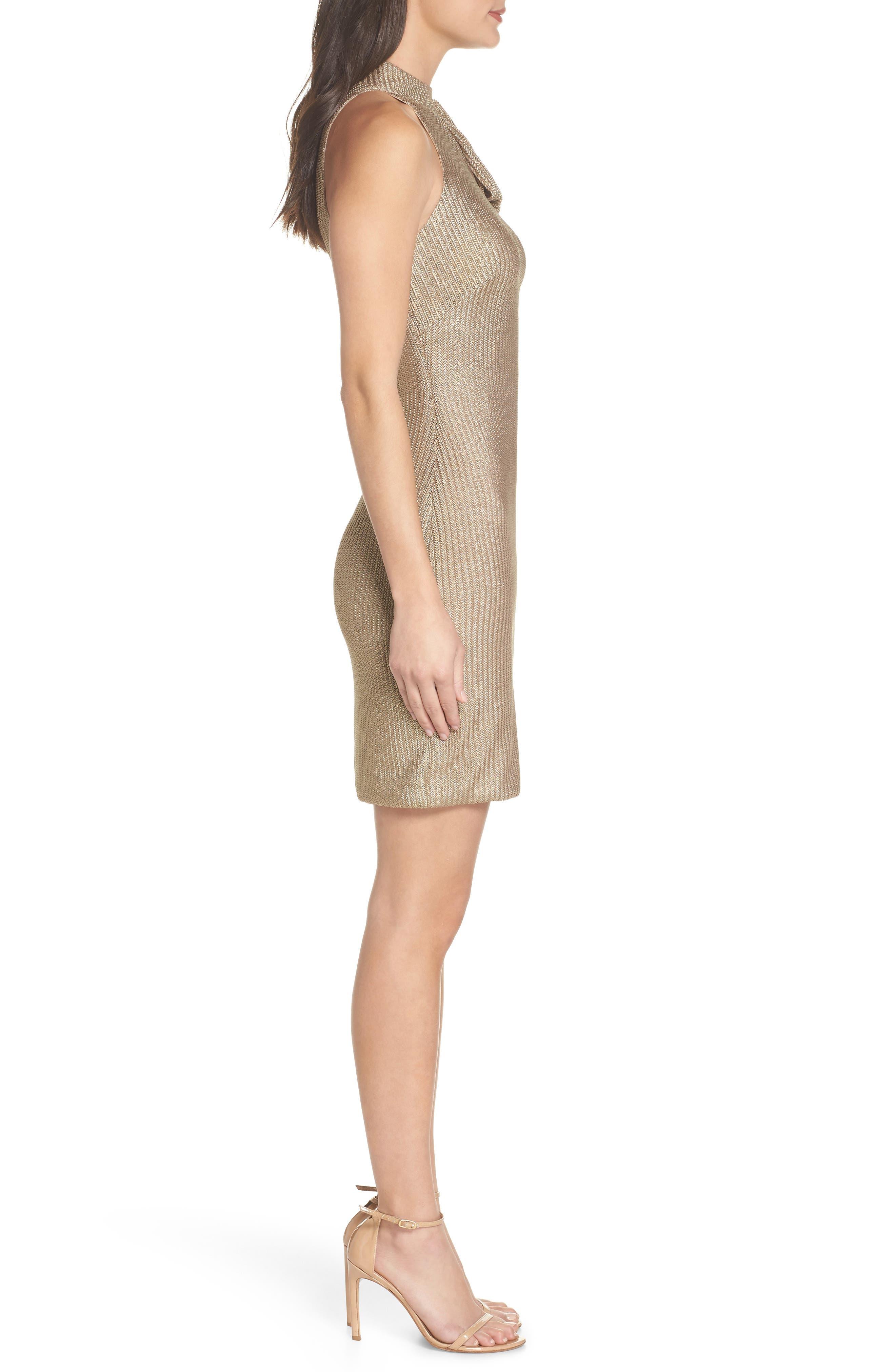 Tie Neck Body-Con Dress,                             Alternate thumbnail 3, color,                             Gold