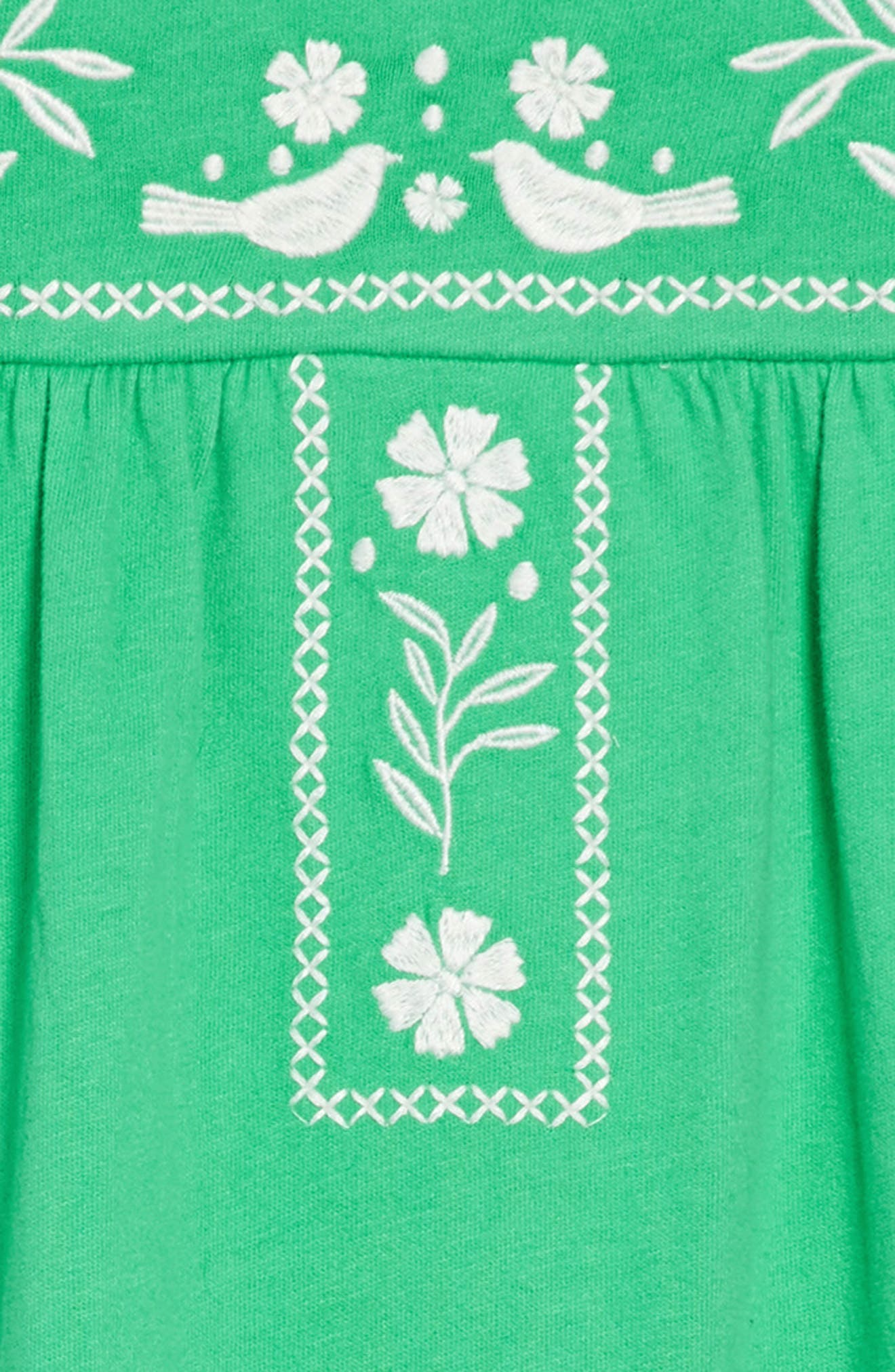 Embroidered Jersey Dress,                             Alternate thumbnail 2, color,                             Peppermint Green