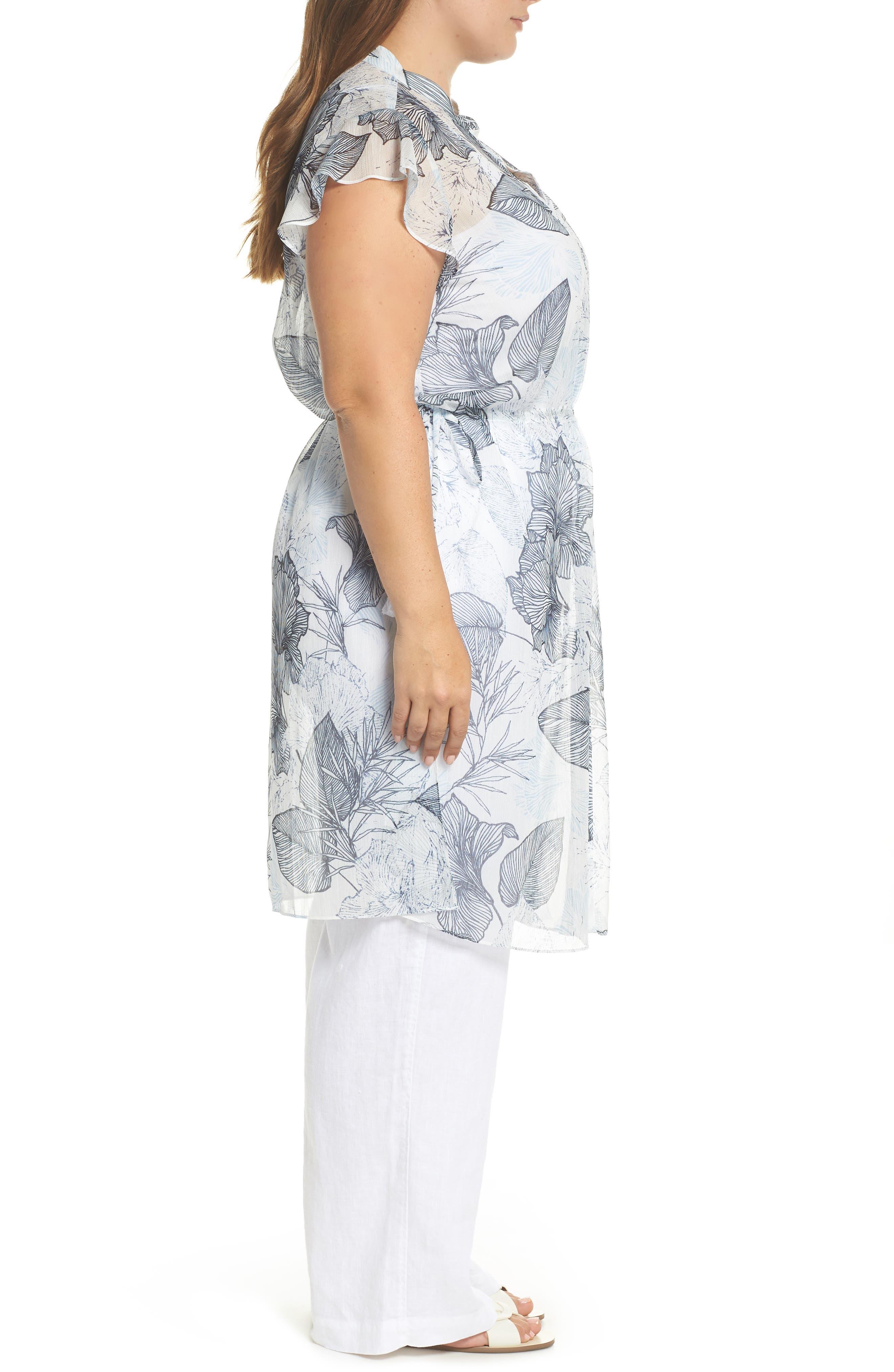 Flutter Sleeve Floral Chiffon Shirt Tunic,                             Alternate thumbnail 3, color,                             Ultra White