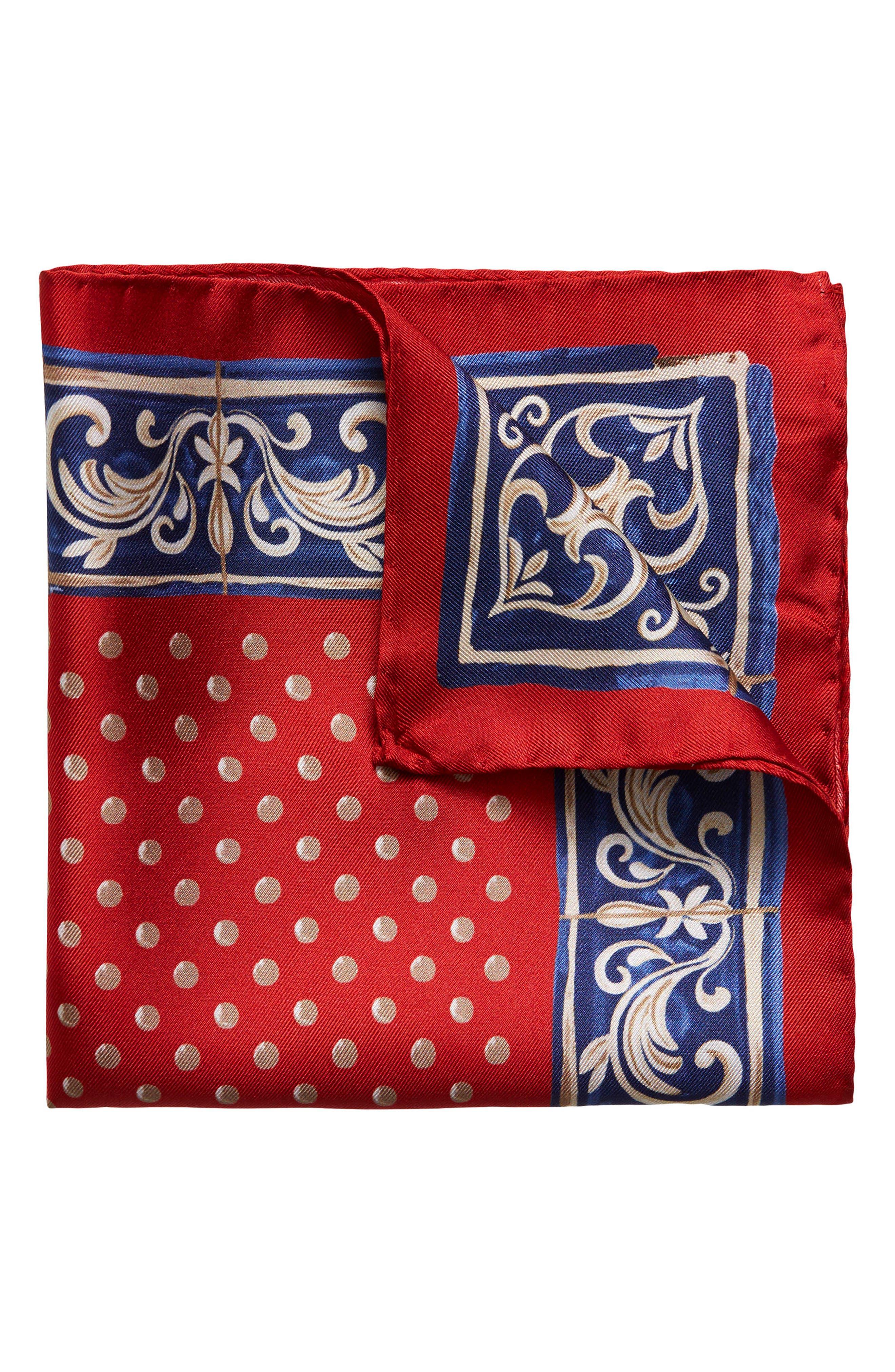 Dot Silk Pocket Square,                         Main,                         color, Red