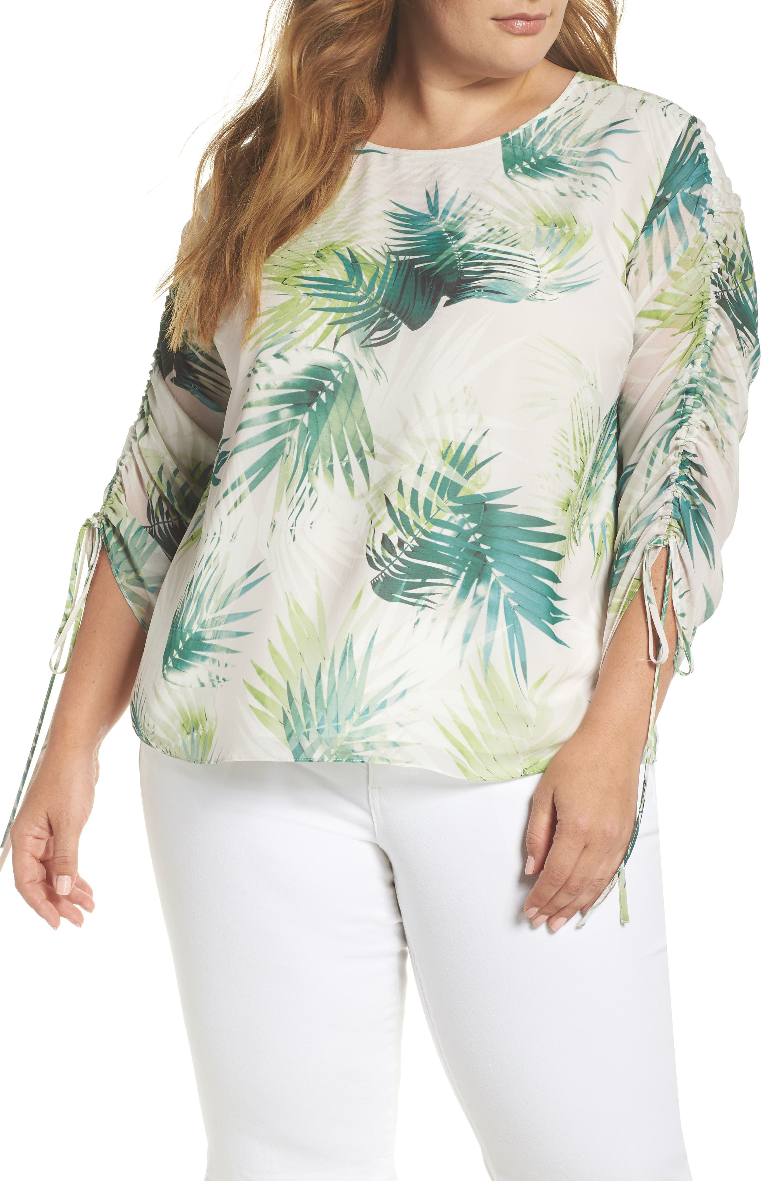 Drawstring Sleeve Sunlit Palm Print Top,                             Main thumbnail 1, color,                             Verdant Green