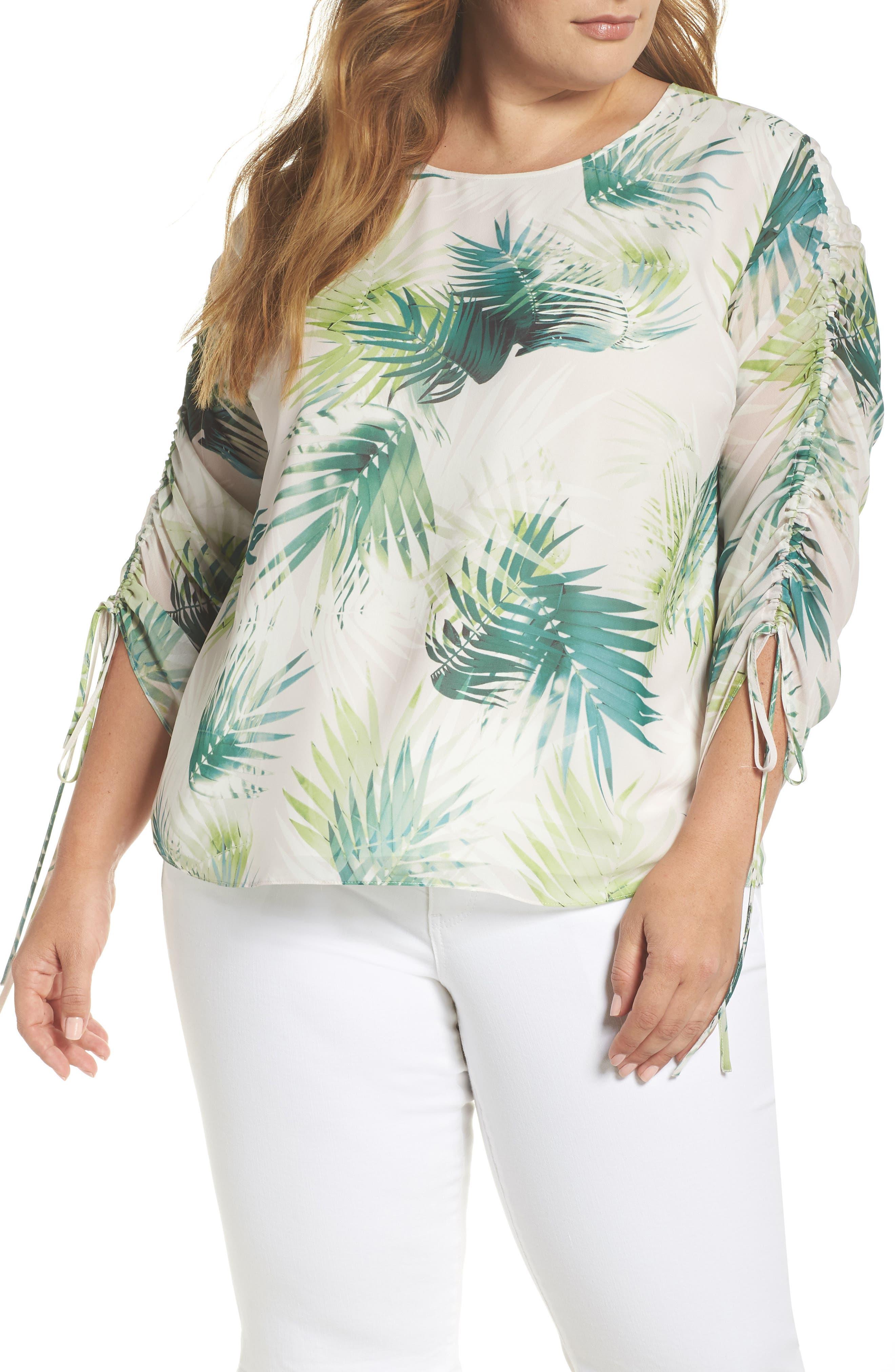Drawstring Sleeve Sunlit Palm Print Top,                         Main,                         color, Verdant Green