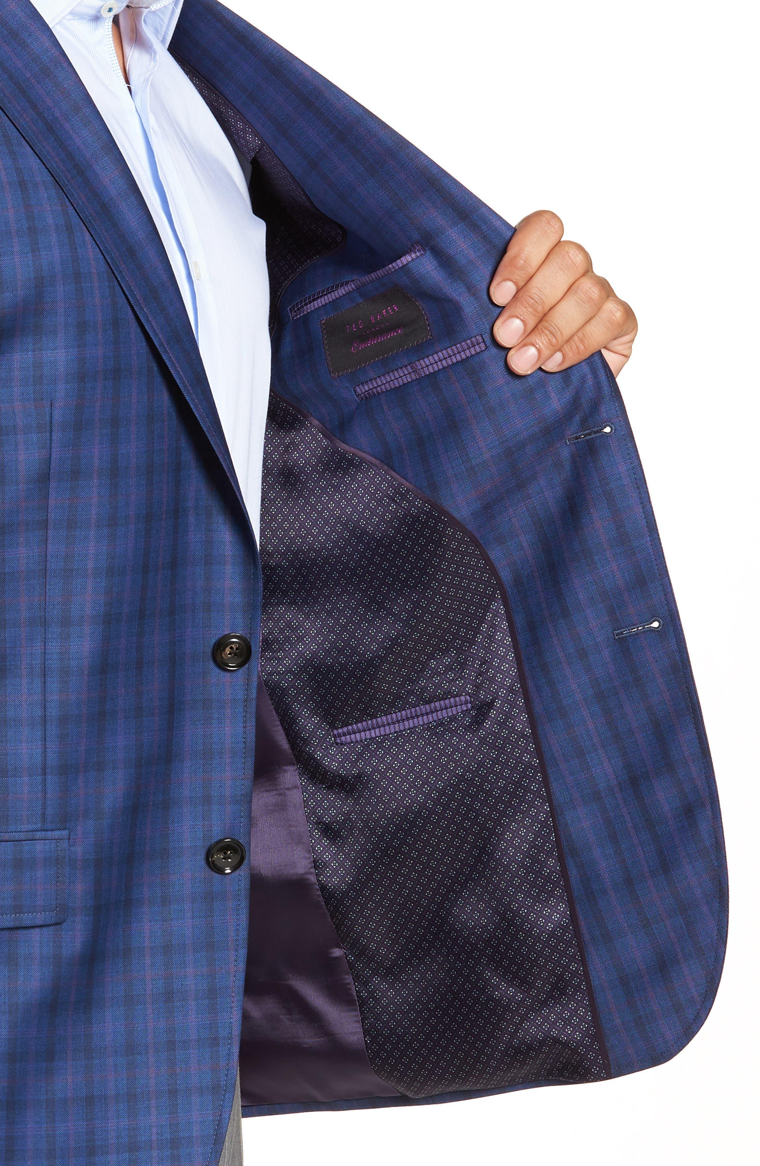 Jay Trim Fit Windowpane Wool Sport Coat,                             Alternate thumbnail 4, color,                             Blue