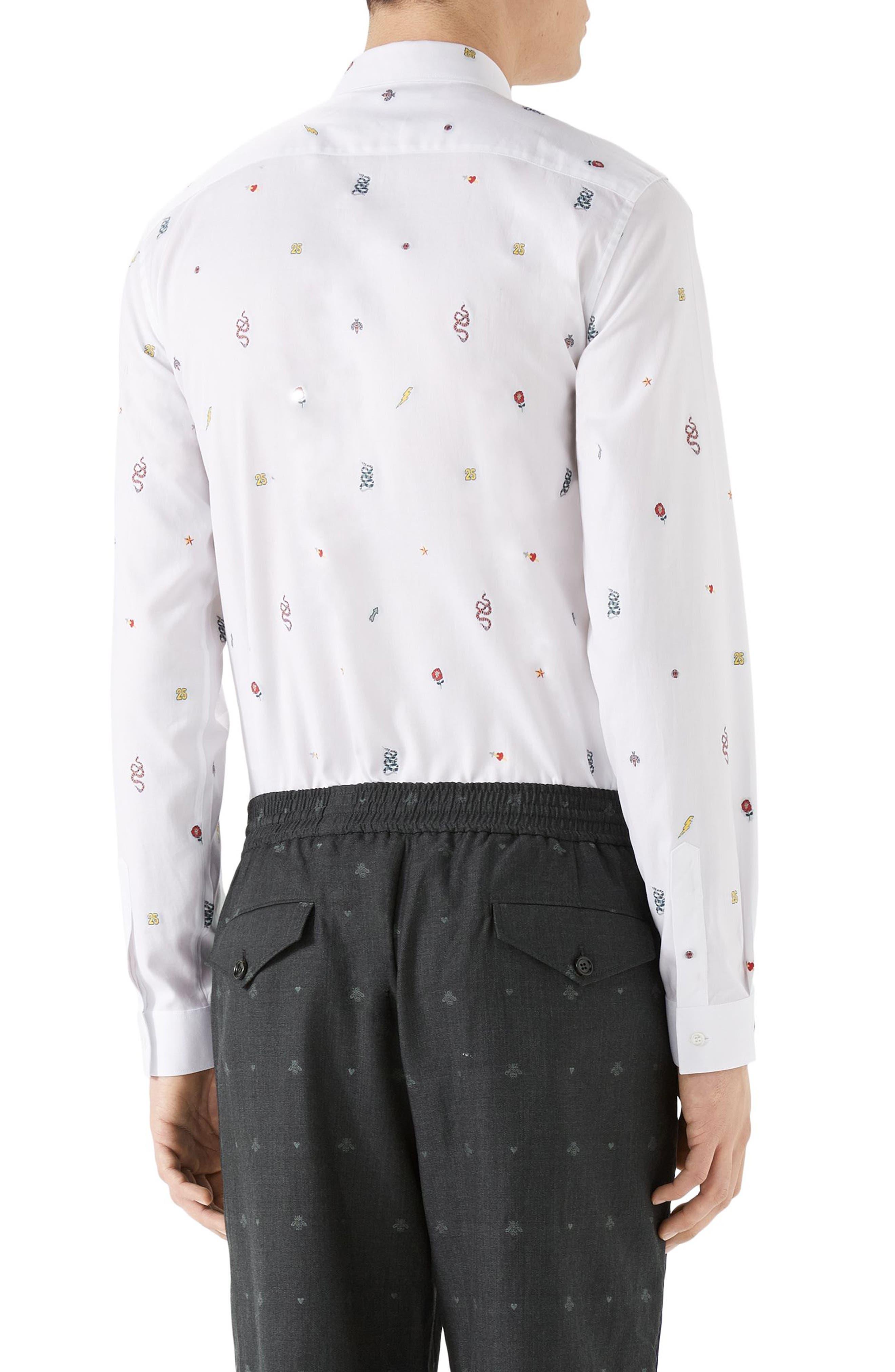 Iconic Elements Fil Coupé Sport Shirt,                             Alternate thumbnail 2, color,                             White