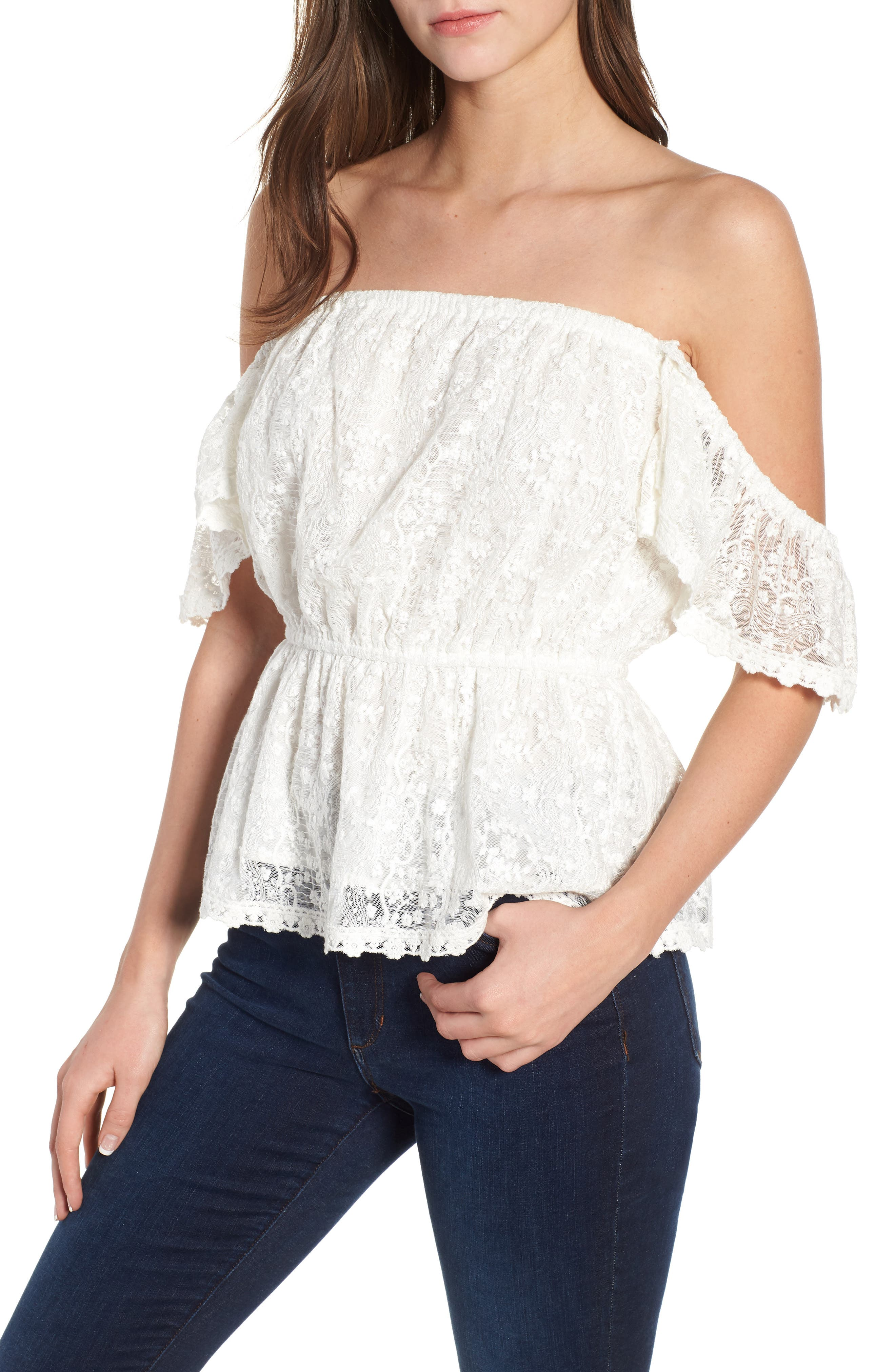 Breena Lace Off the Shoulder Top,                             Main thumbnail 1, color,                             Ivory
