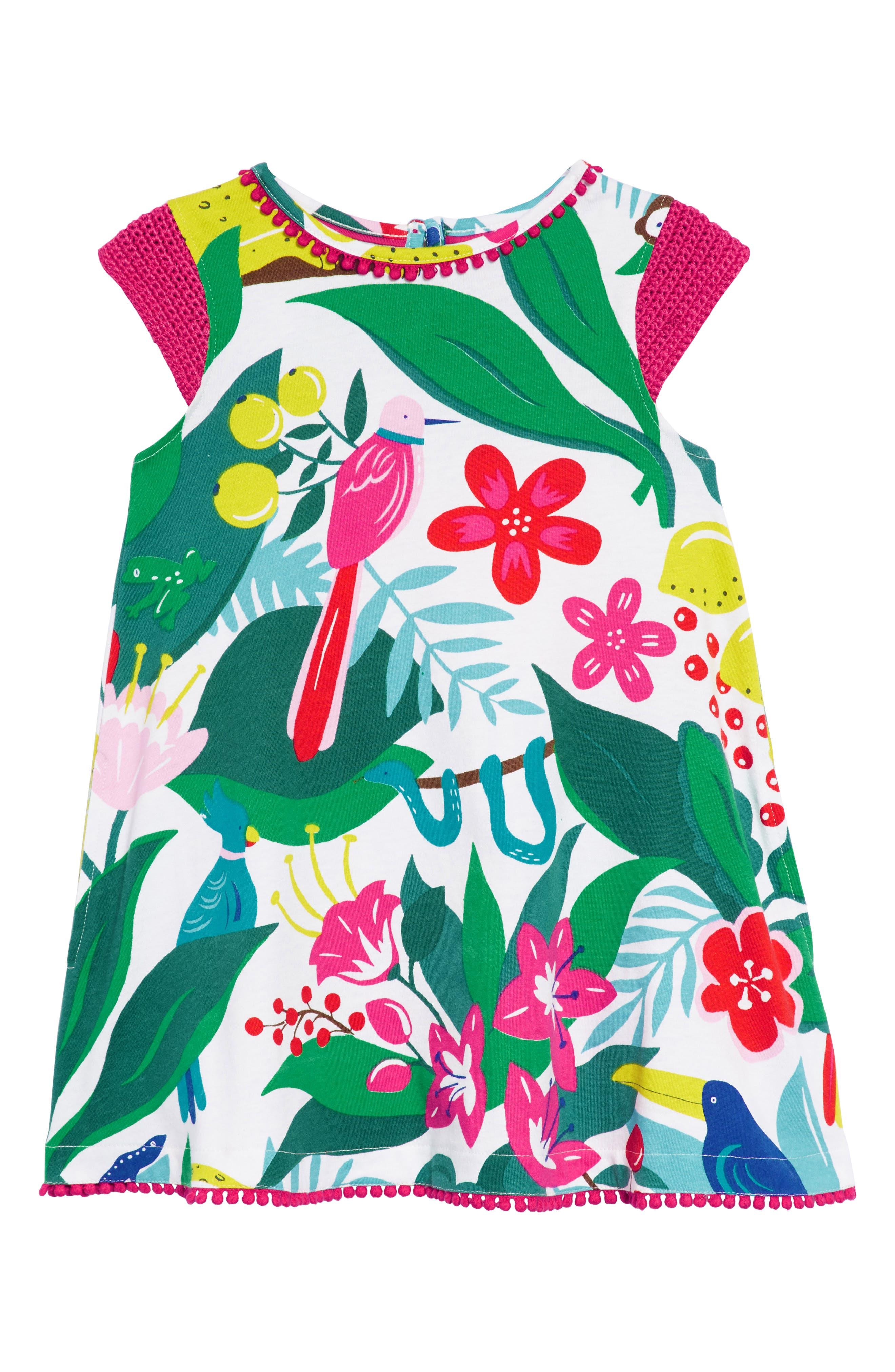 Crochet Sleeve Sundress,                             Main thumbnail 1, color,                             Ecru Jungle Jumble
