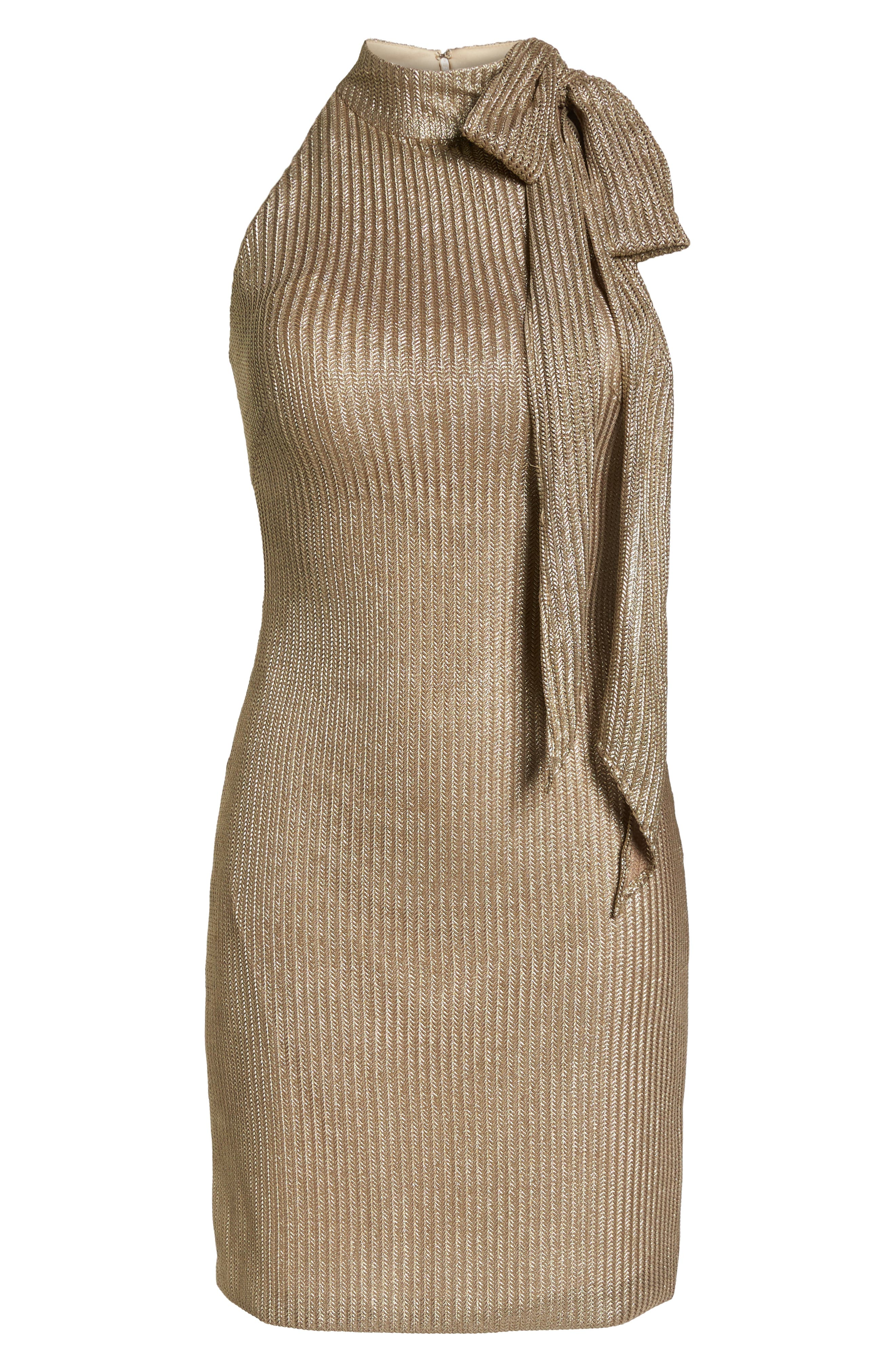 Tie Neck Body-Con Dress,                             Alternate thumbnail 6, color,                             Gold