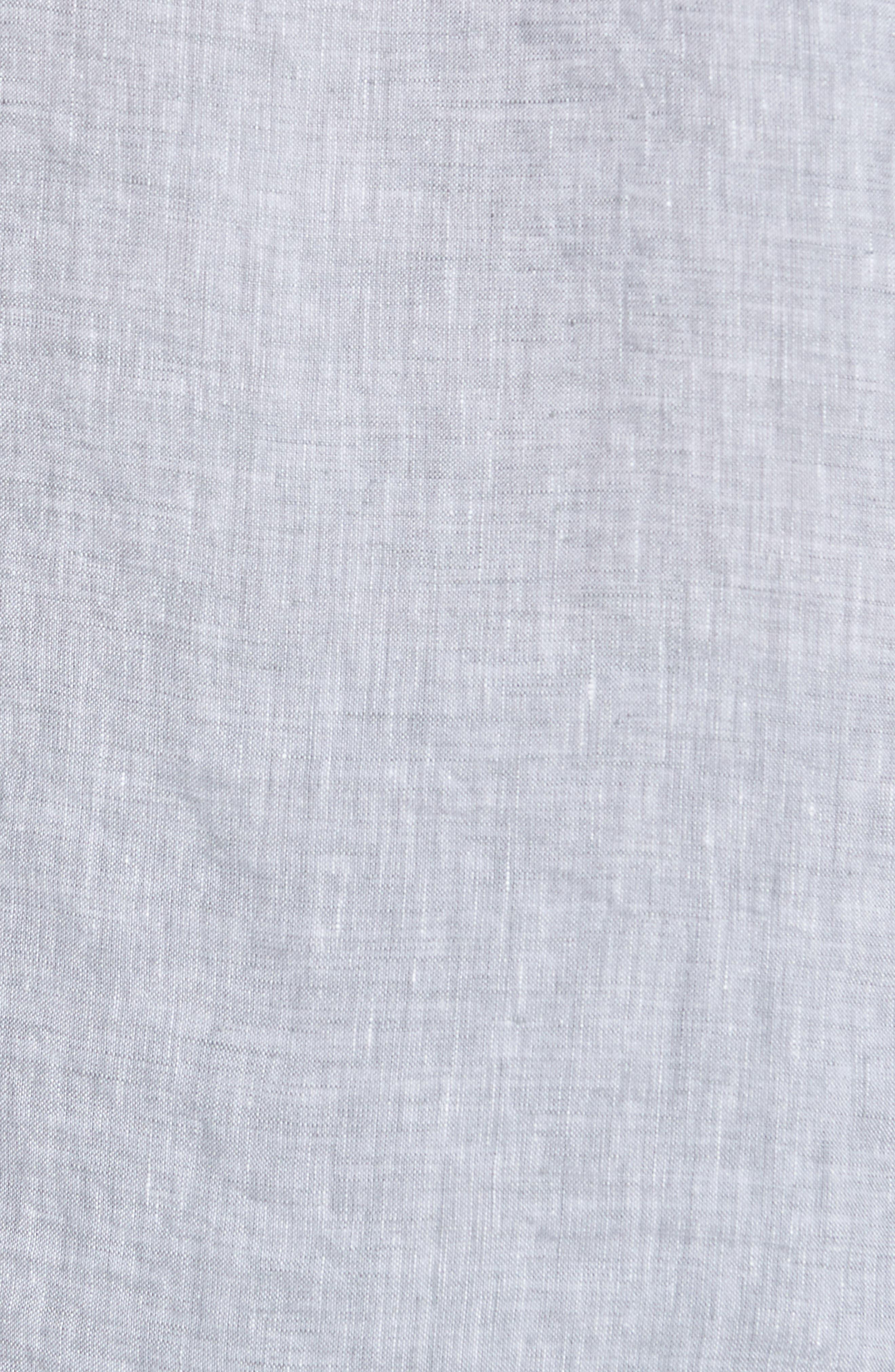 Slim Fit Linen Sport Shirt,                             Alternate thumbnail 5, color,                             Chambray