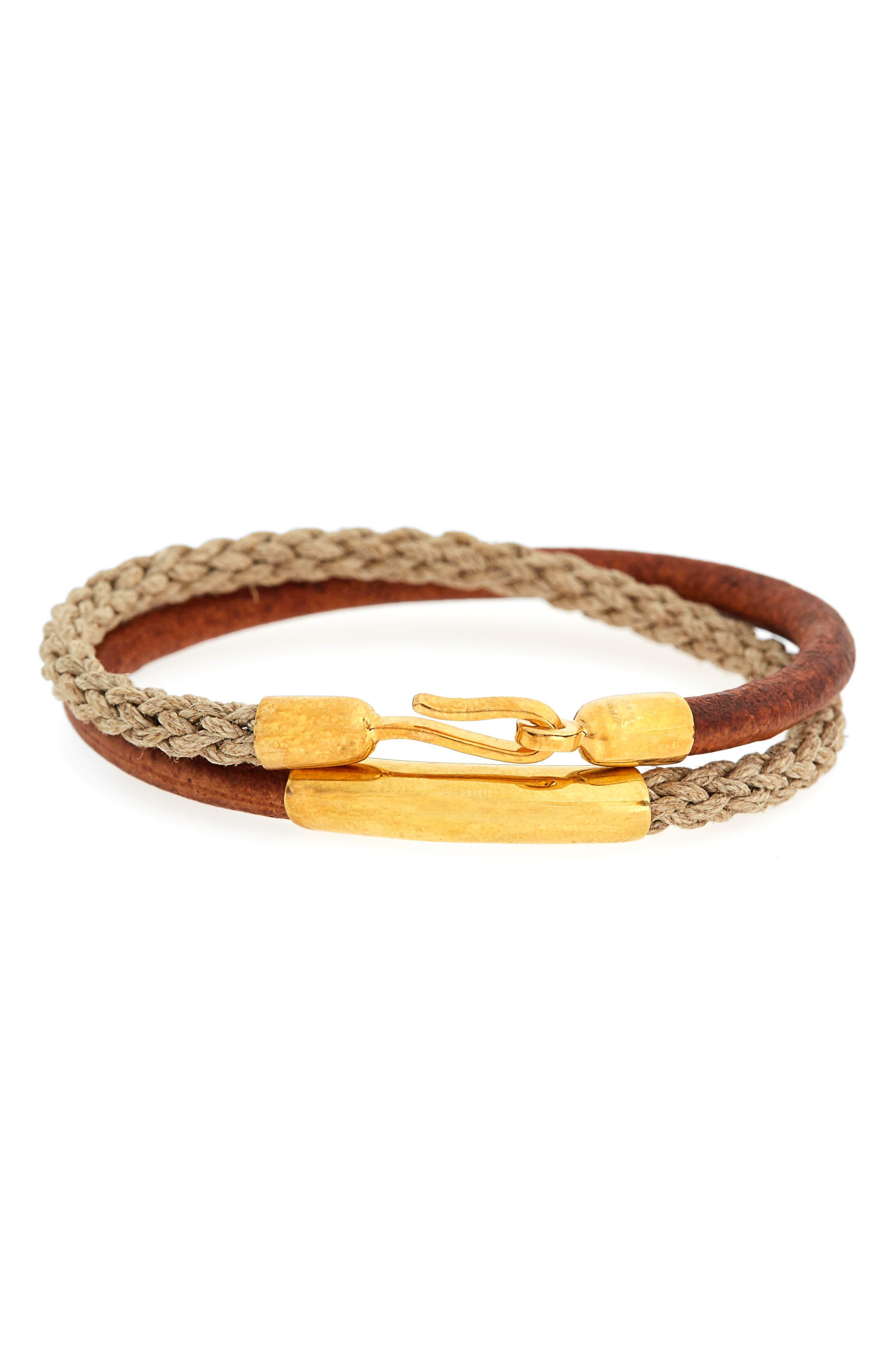 Leather & Jute Wrap Bracelet,                             Main thumbnail 1, color,                             Tan