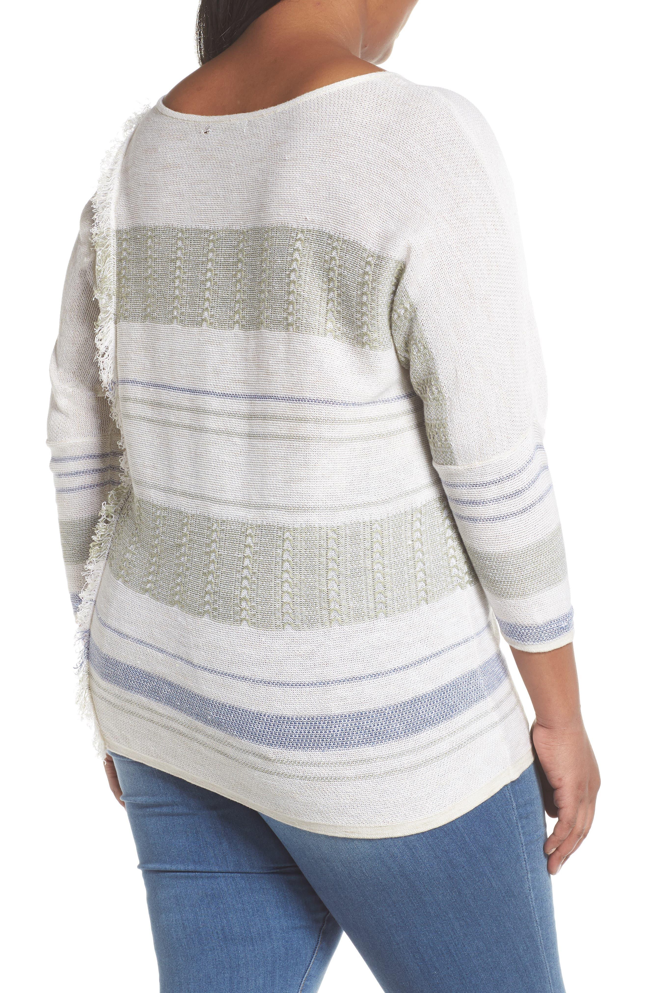 Juniper Fringe Stripe Linen Blend Sweater,                             Alternate thumbnail 2, color,                             Multi