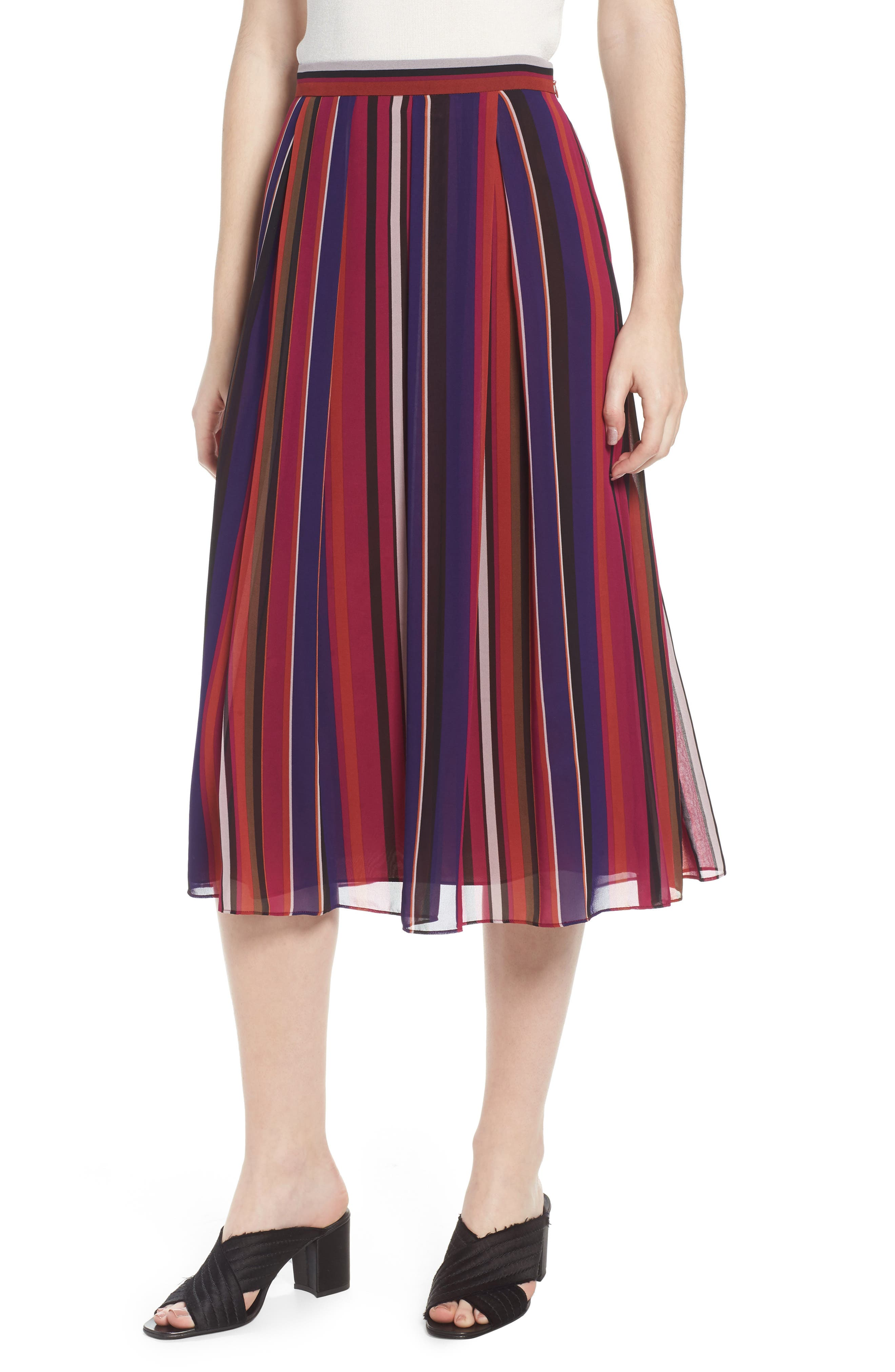Striped Midi Skirt,                         Main,                         color, African Violet Combo