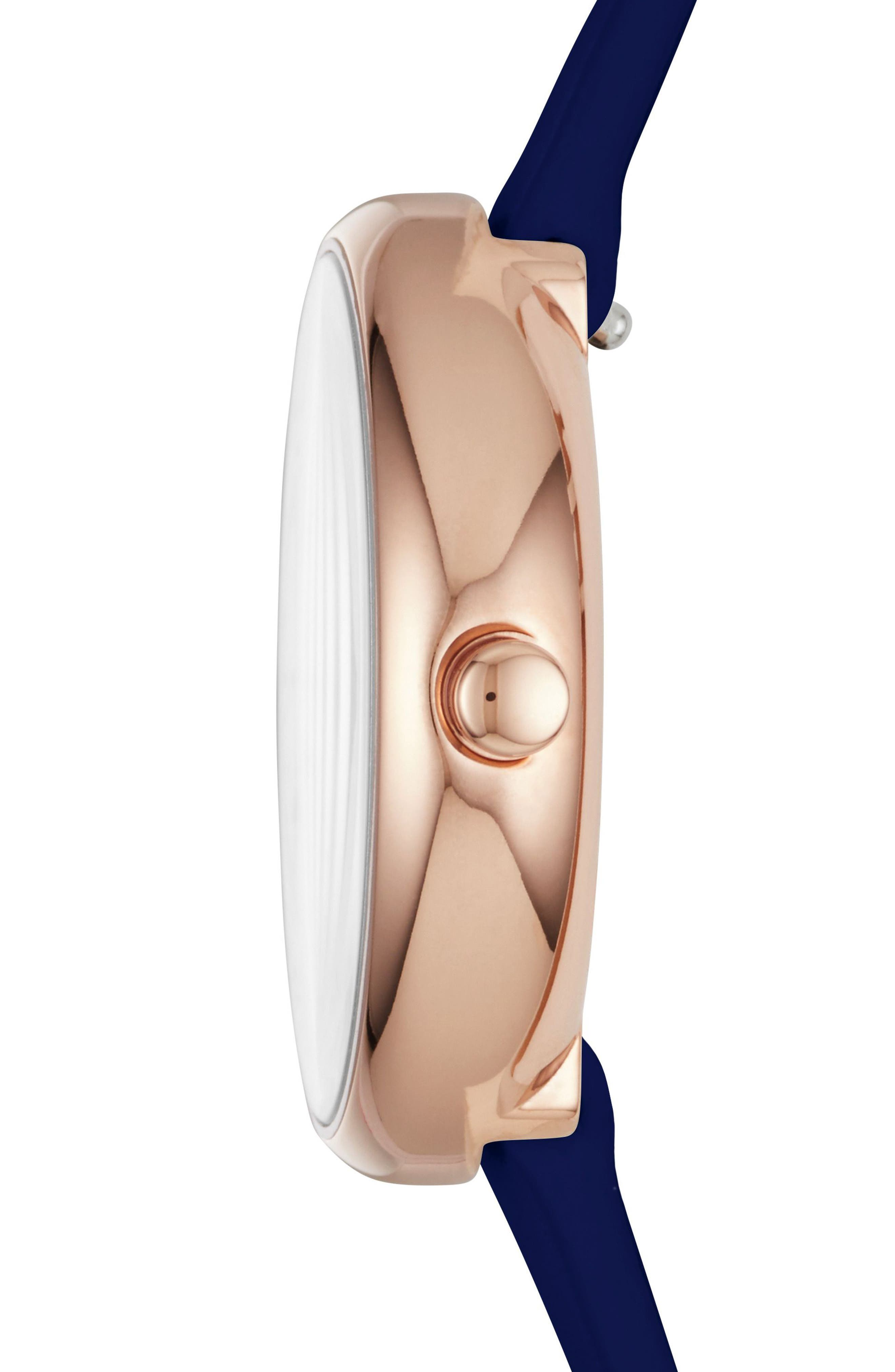 Signatur Leather Strap Watch, 30mm,                             Alternate thumbnail 2, color,                             Blue/ White/ Rose Gold