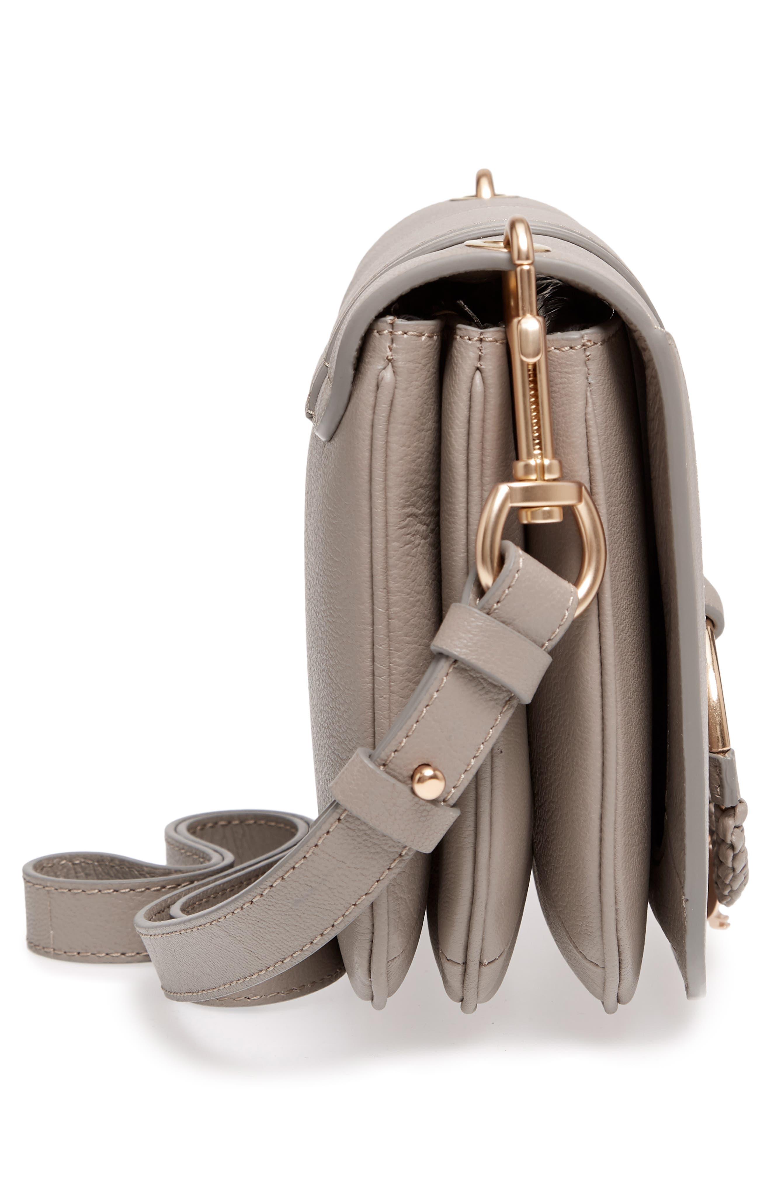 Hana Small Leather Crossbody Bag,                             Alternate thumbnail 7, color,                             Motty Grey