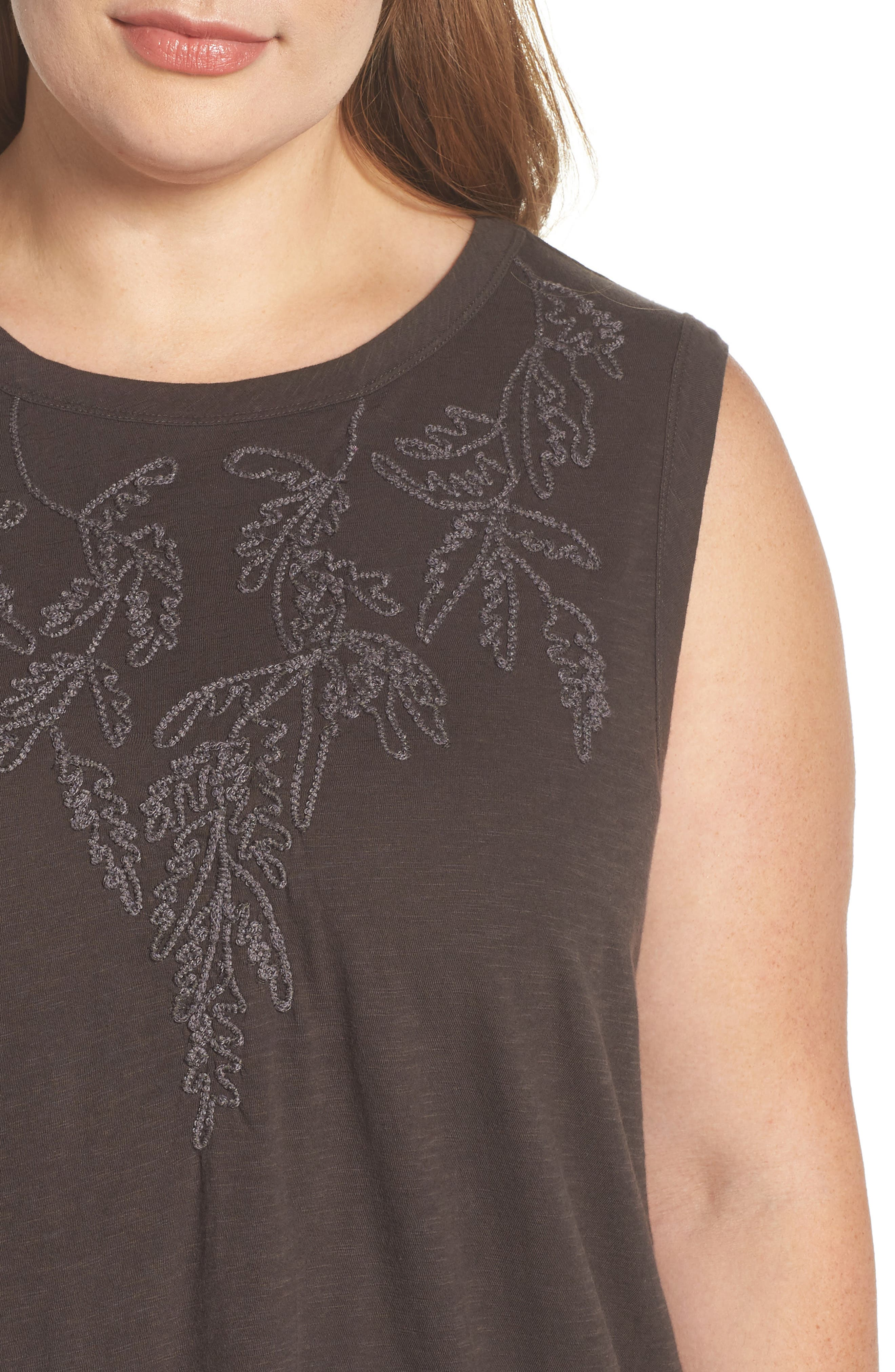 Embroidered Leaf Ruched Back Top,                             Alternate thumbnail 4, color,                             Lucky Black