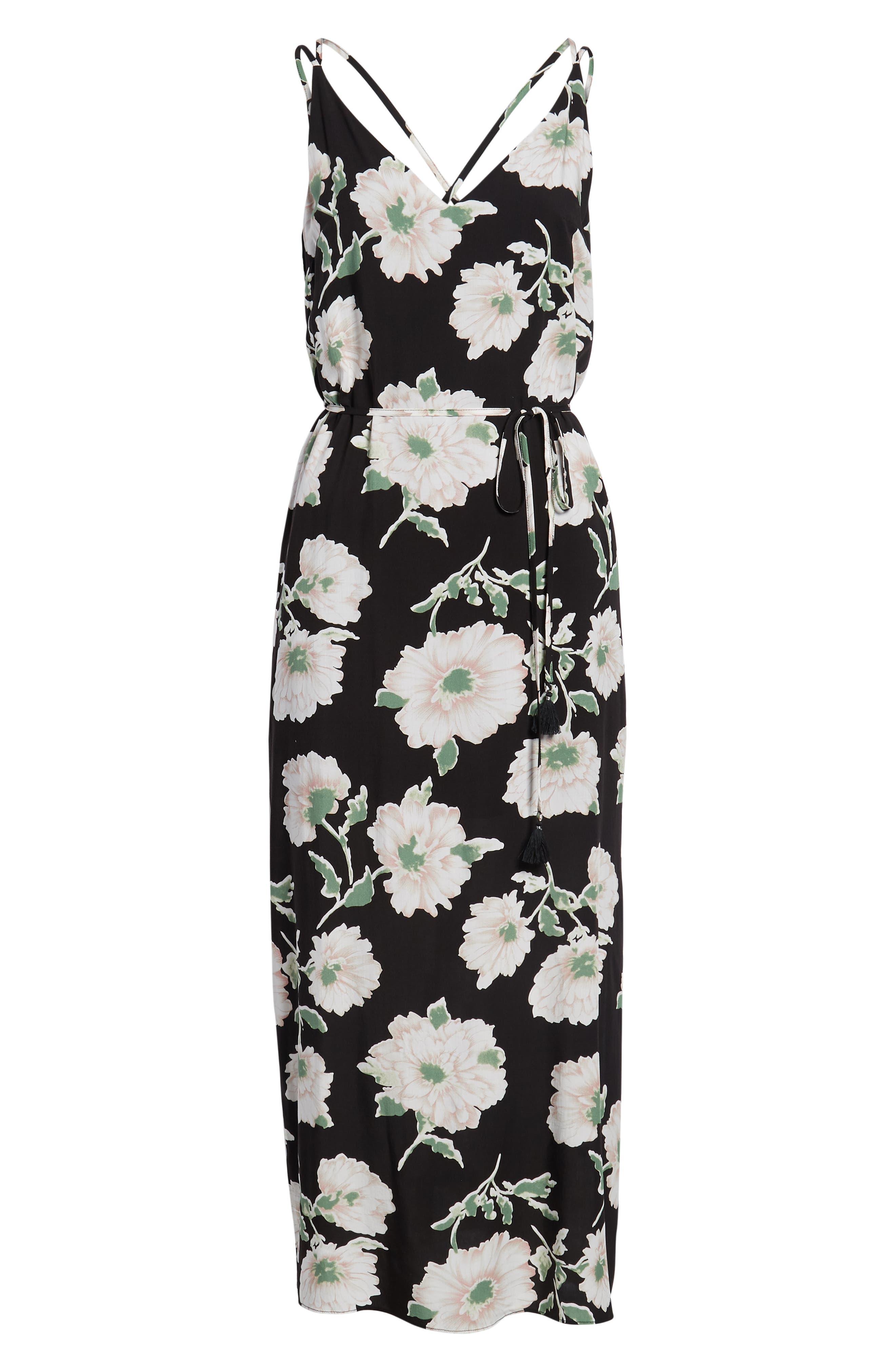 Tie Waist Maxi Dress,                             Alternate thumbnail 6, color,                             431 Black