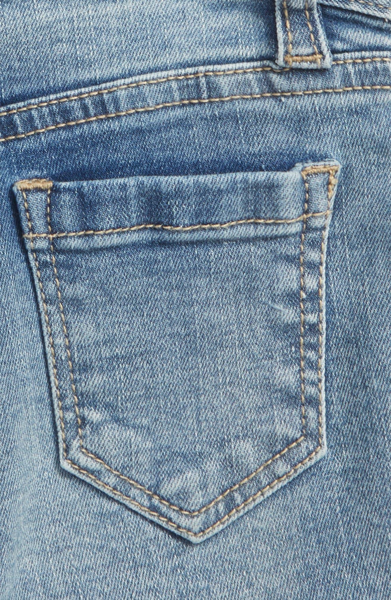 Embroidered Frayed Hem Denim Shorts,                             Alternate thumbnail 3, color,                             Medium Authentic
