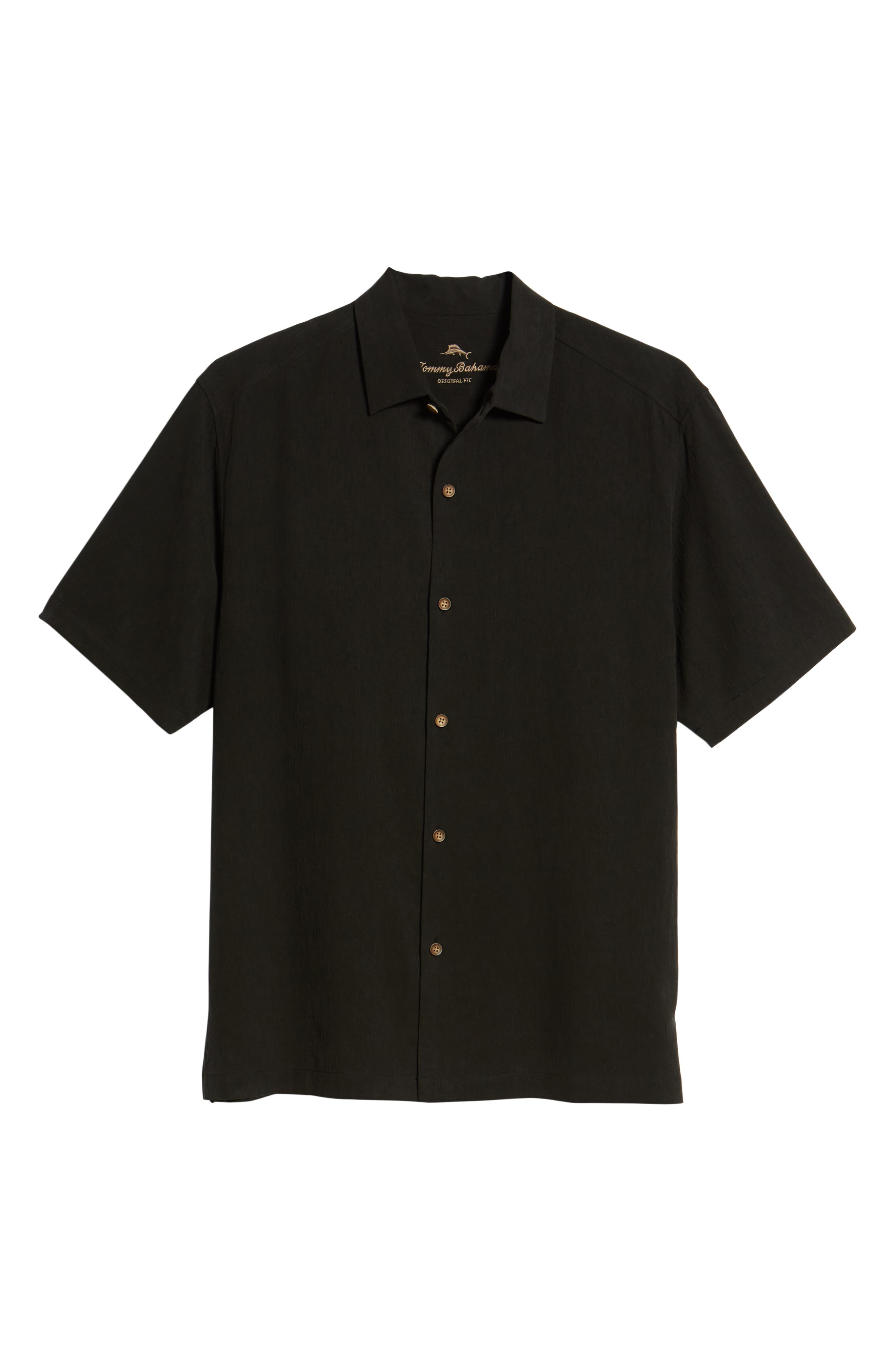 Bahama Reserve Silk Camp Shirt,                             Alternate thumbnail 6, color,                             Black