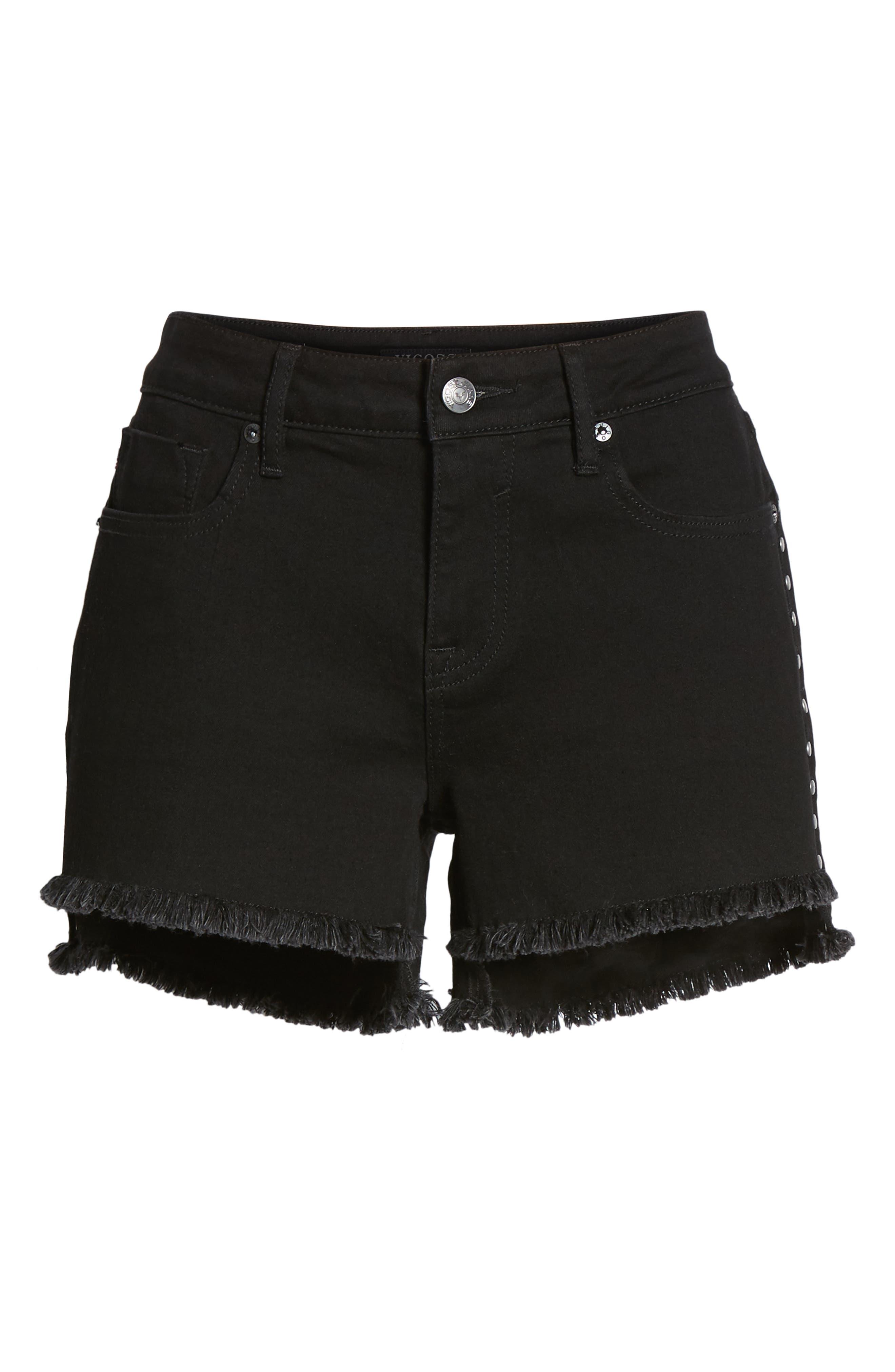 Studded Step Hem Denim Cutoff Shorts,                             Alternate thumbnail 7, color,                             Black