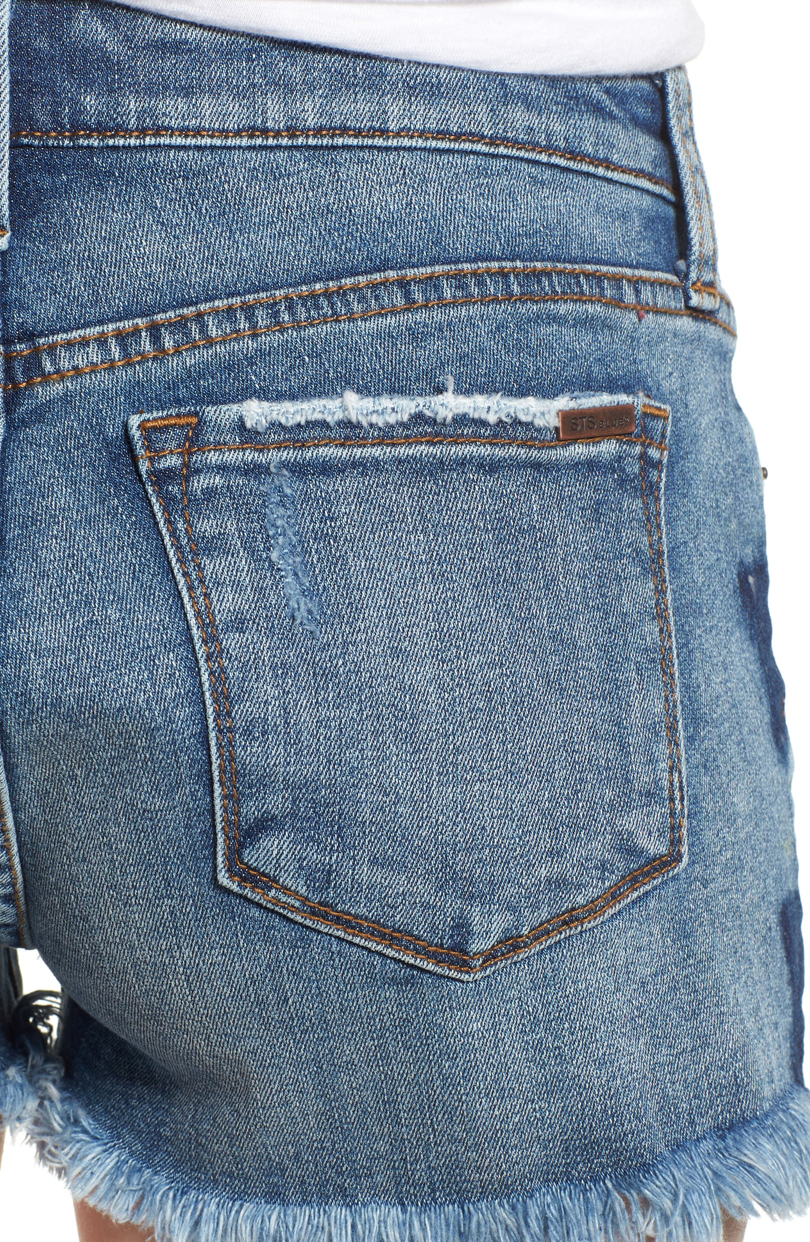 Fray Hem Star Print Denim Shorts,                             Alternate thumbnail 4, color,                             Bissell