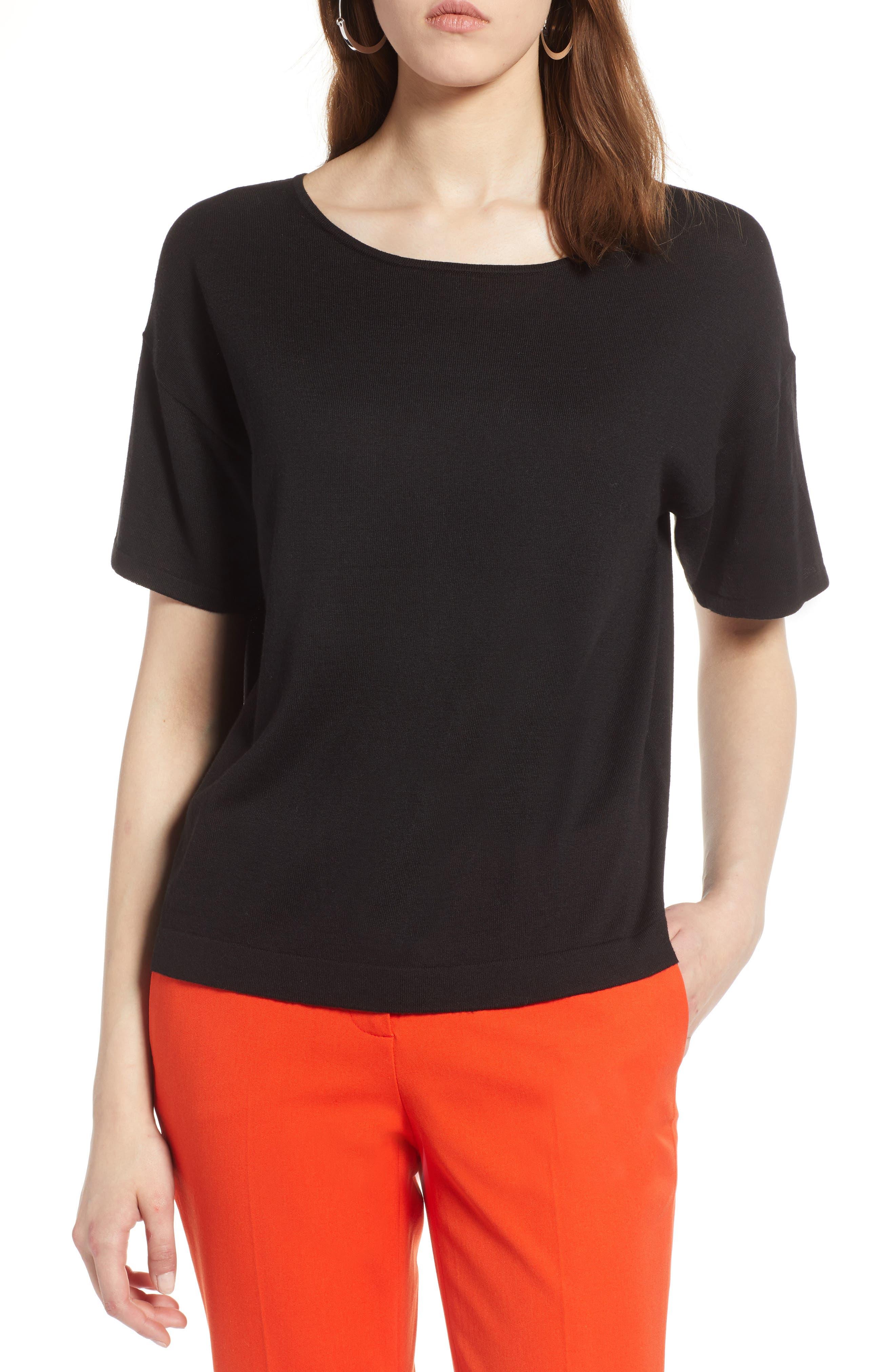 Lightweight Sweater,                             Main thumbnail 1, color,                             Black