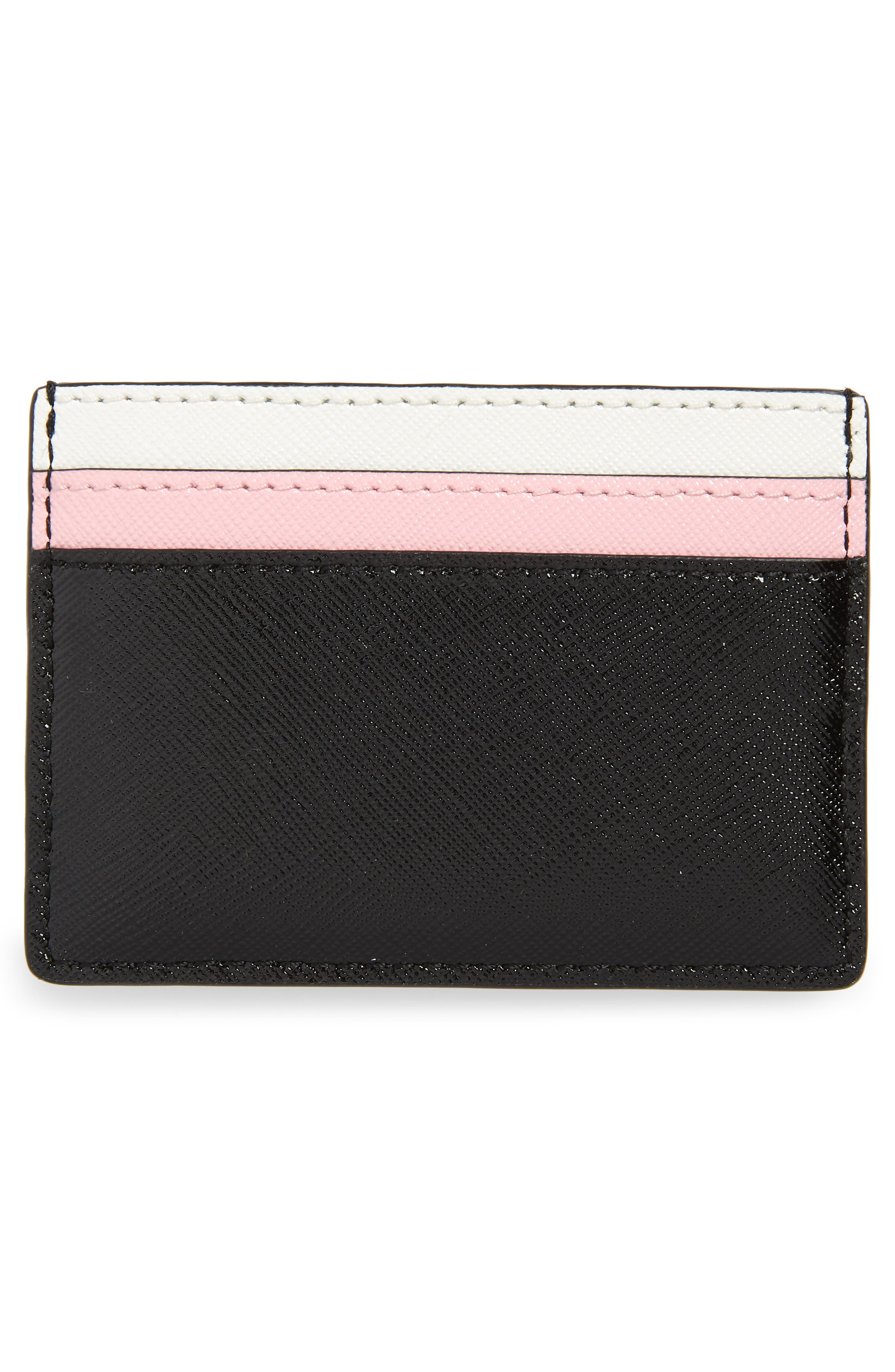 Snapshot Leather Card Case,                             Alternate thumbnail 2, color,                             Black/ Baby Pink